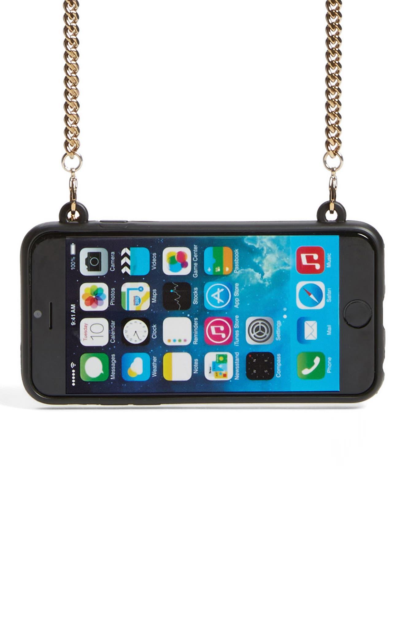 'Stella' iPhone 6 & 6s Crossbody Chain Case,                             Alternate thumbnail 3, color,                             001
