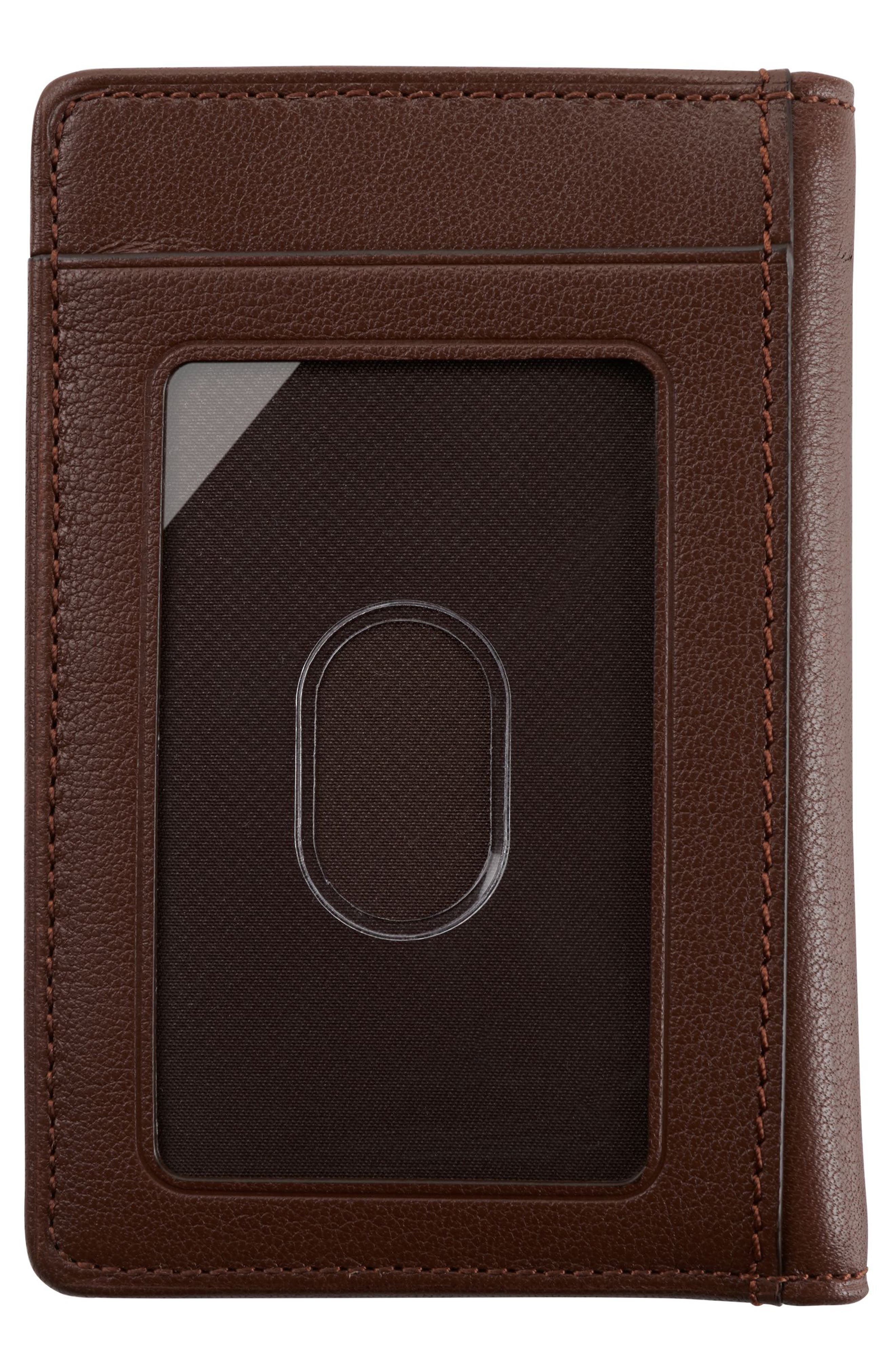 Leather Card Case,                             Alternate thumbnail 3, color,                             BROWN TEXTURED