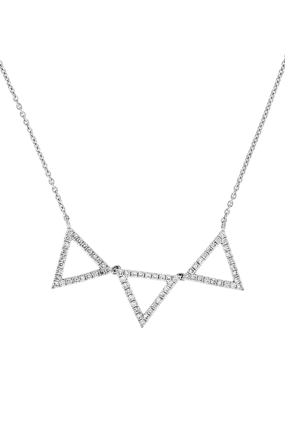 Three Triangle Diamond Pendant Necklace,                             Main thumbnail 1, color,                             WHITE GOLD