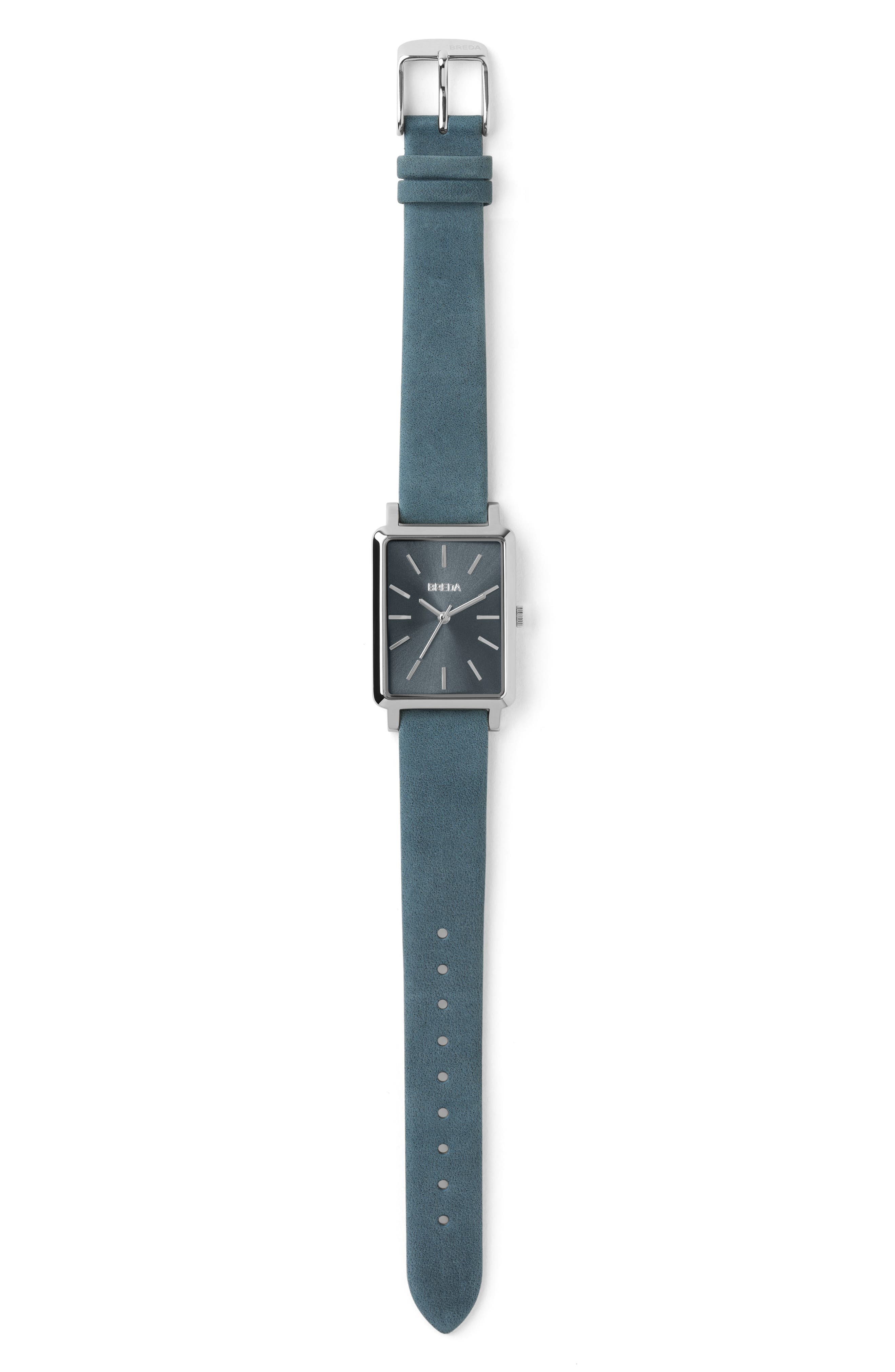 BREDA,                             Baer Rectangular Leather Strap Watch, 26mm,                             Alternate thumbnail 3, color,                             BLUE/ SILVER