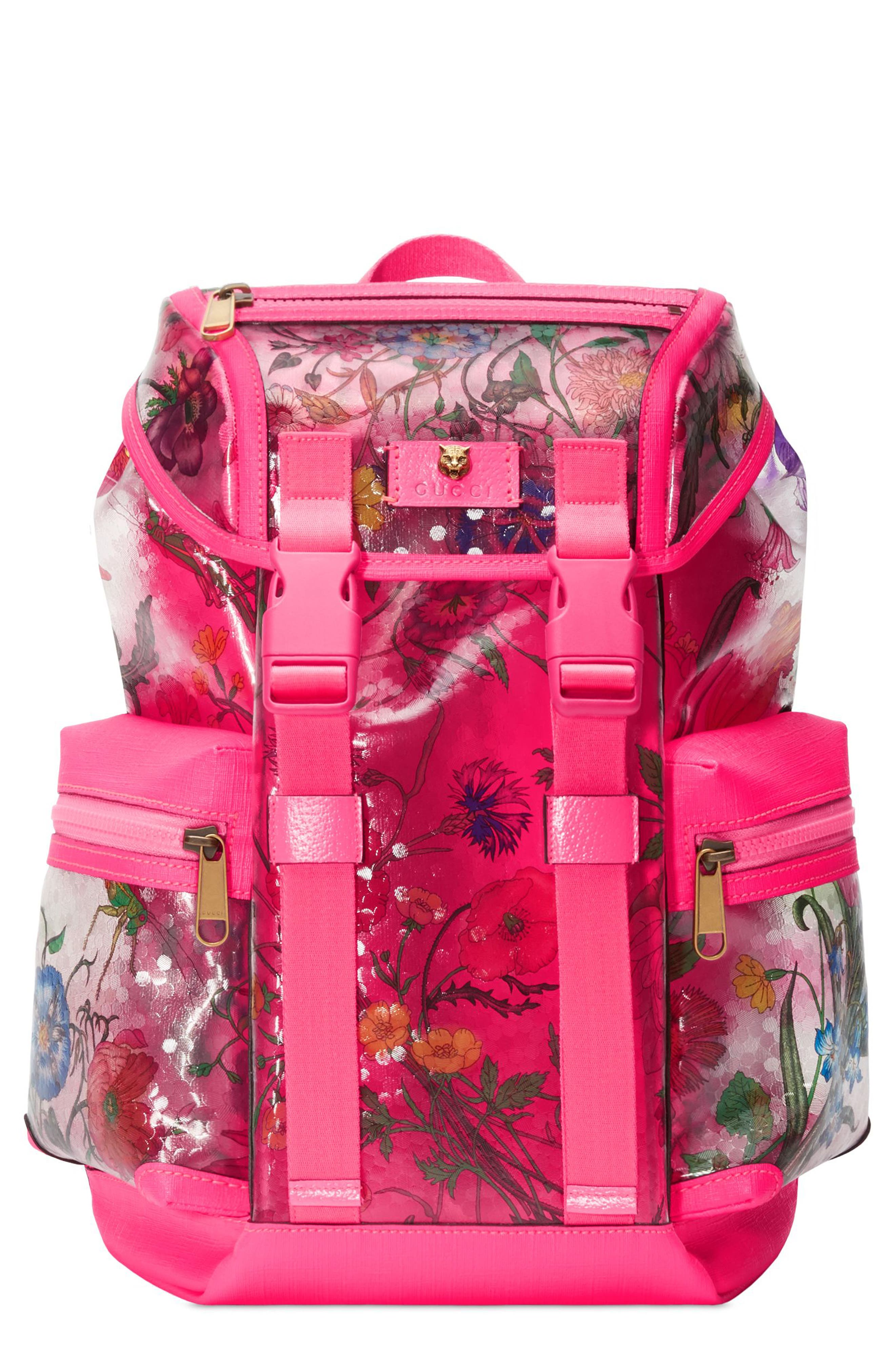 Floral Print Small Backpack,                             Main thumbnail 1, color,                             FUXIA FLOURESCENT MULTI