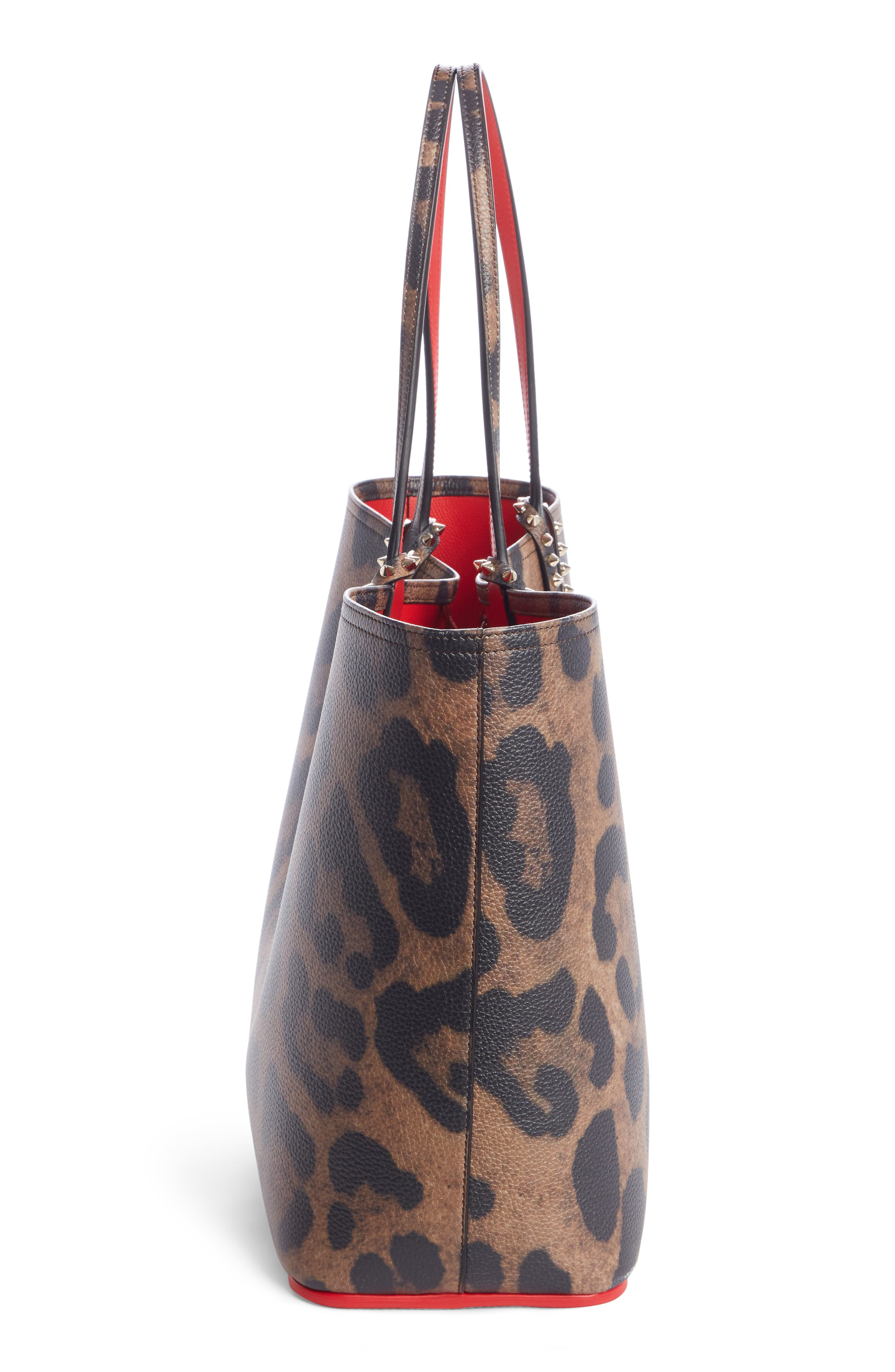 CHRISTIAN LOUBOUTIN,                             Large Cabata Leather Tote,                             Alternate thumbnail 3, color,                             BROWN