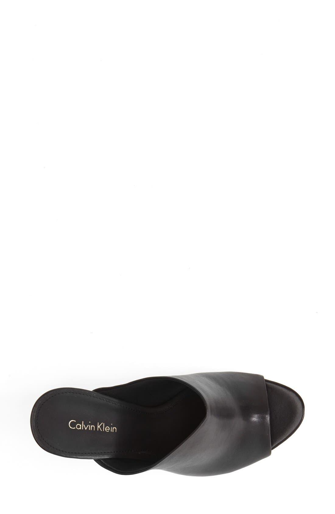 CALVIN KLEIN,                             'Gradyn' Peep Toe Mule Sandal,                             Alternate thumbnail 4, color,                             001