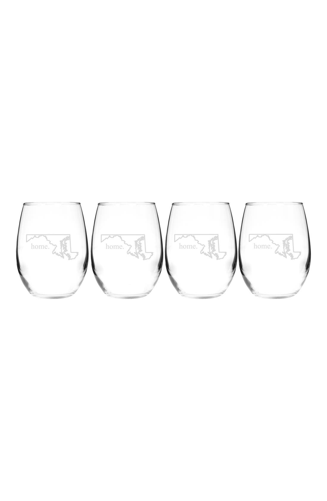 Home State Set of 4 Stemless Wine Glasses,                             Main thumbnail 21, color,