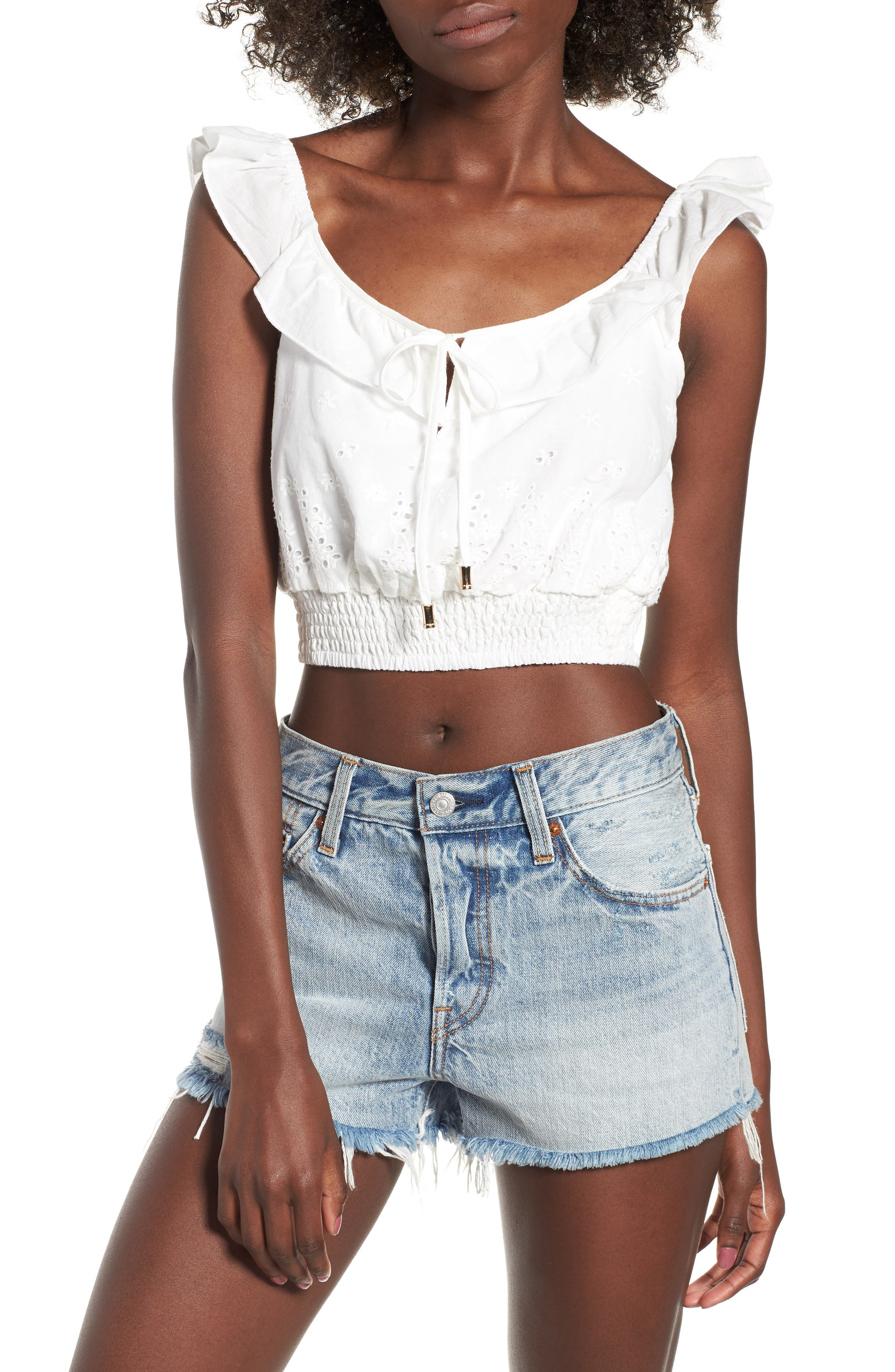 Bianco Eyelet Crop Top,                             Main thumbnail 1, color,
