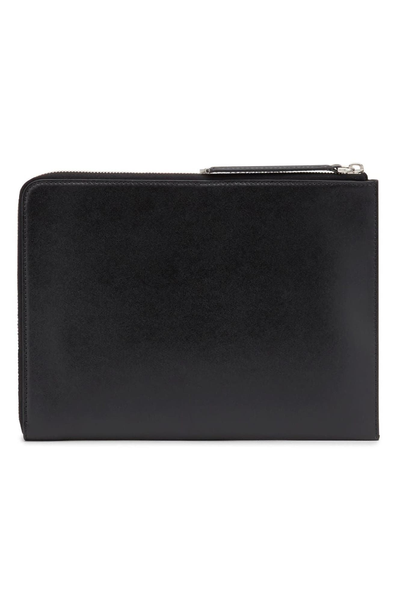Logo Studded RFID Leather Zip Pouch,                             Alternate thumbnail 3, color,                             001