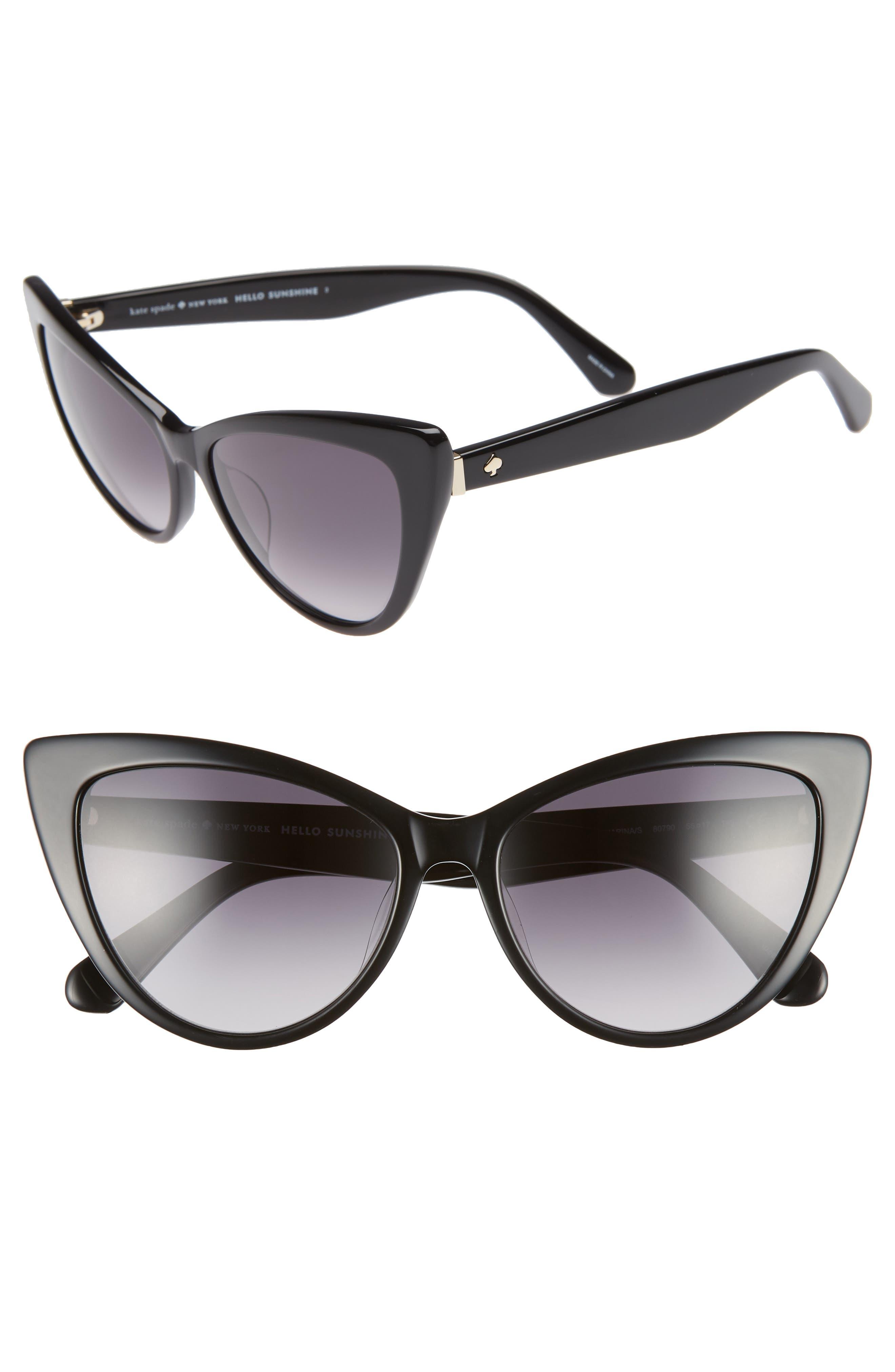 karina 56mm cat eye sunglasses,                             Main thumbnail 1, color,                             BLACK