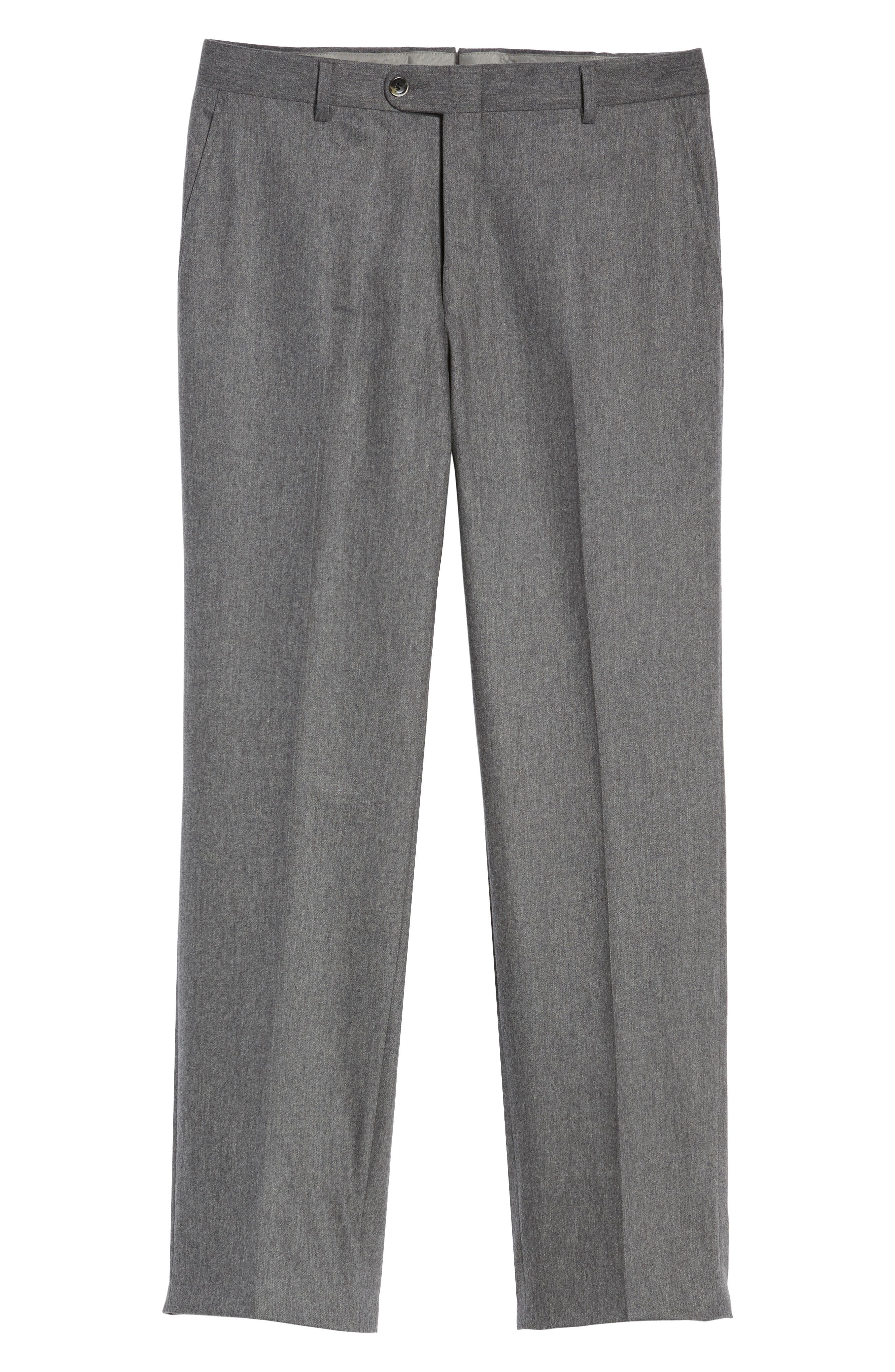 Classic B Fit Flat Front Solid Wool Blend Trousers,                             Alternate thumbnail 6, color,                             030