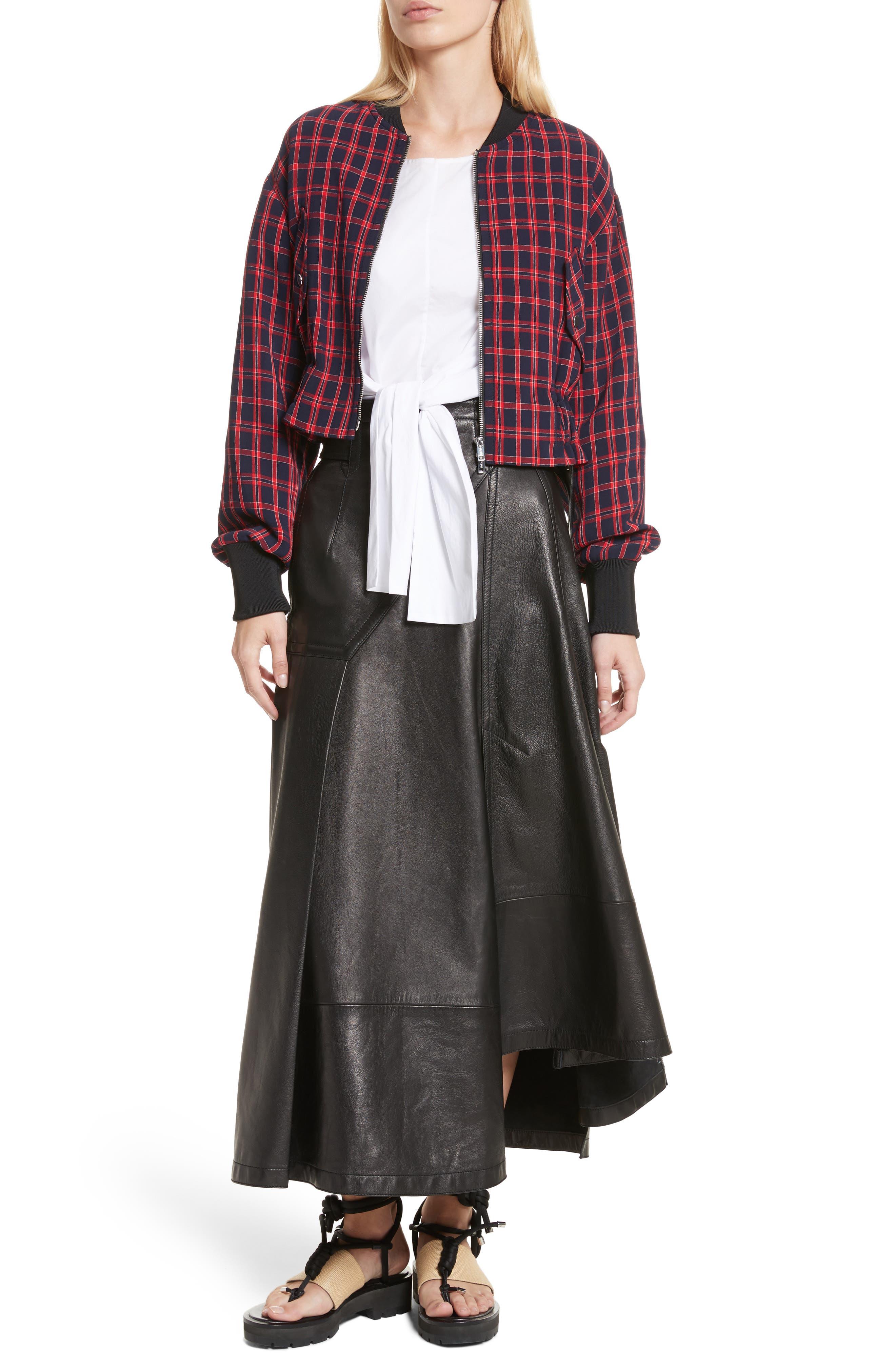 Leather Utility Skirt,                             Alternate thumbnail 7, color,                             001