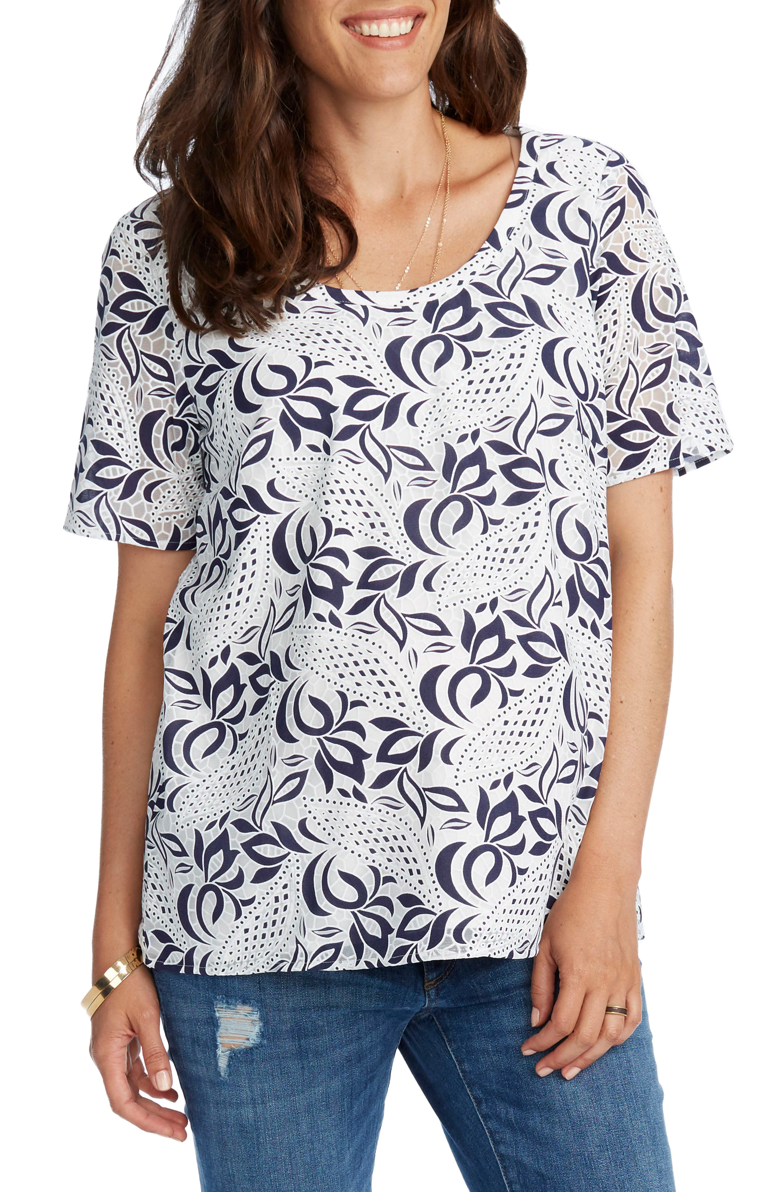 'Ava' Lace Maternity Top,                             Alternate thumbnail 2, color,                             NAVY/ WHITE
