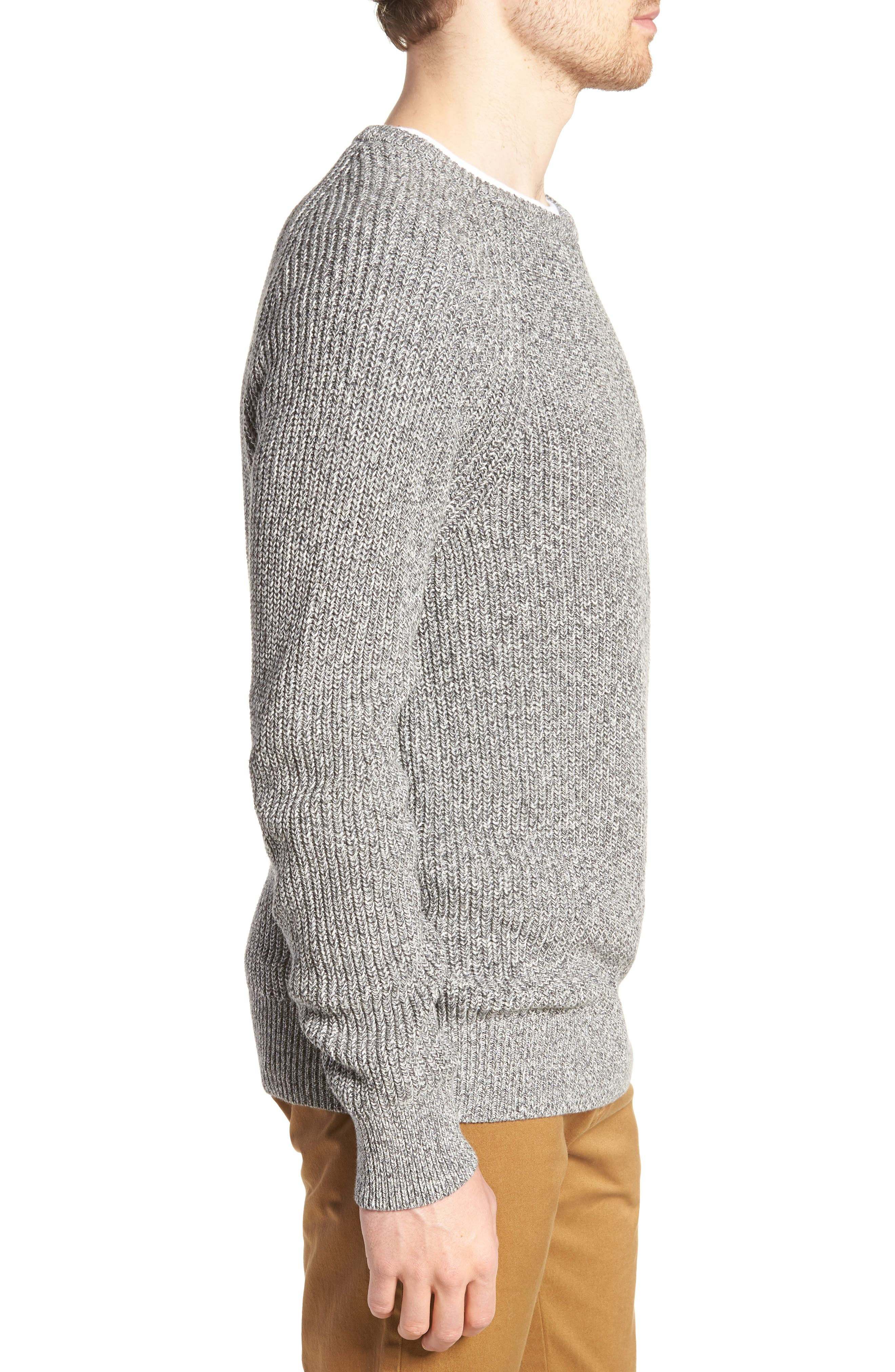 Marled Cotton Crewneck Sweater,                             Alternate thumbnail 3, color,                             020