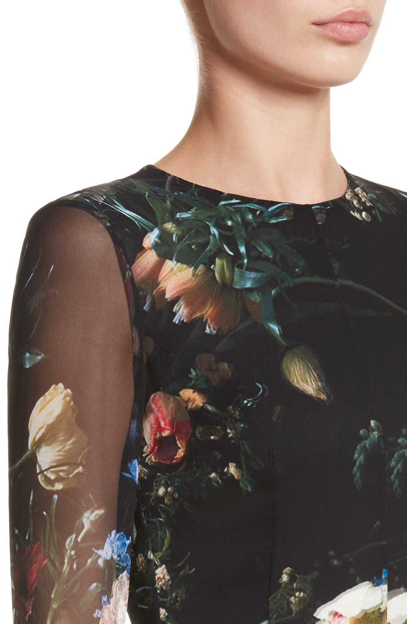 Floral Print Silk Minidress,                             Alternate thumbnail 4, color,                             001