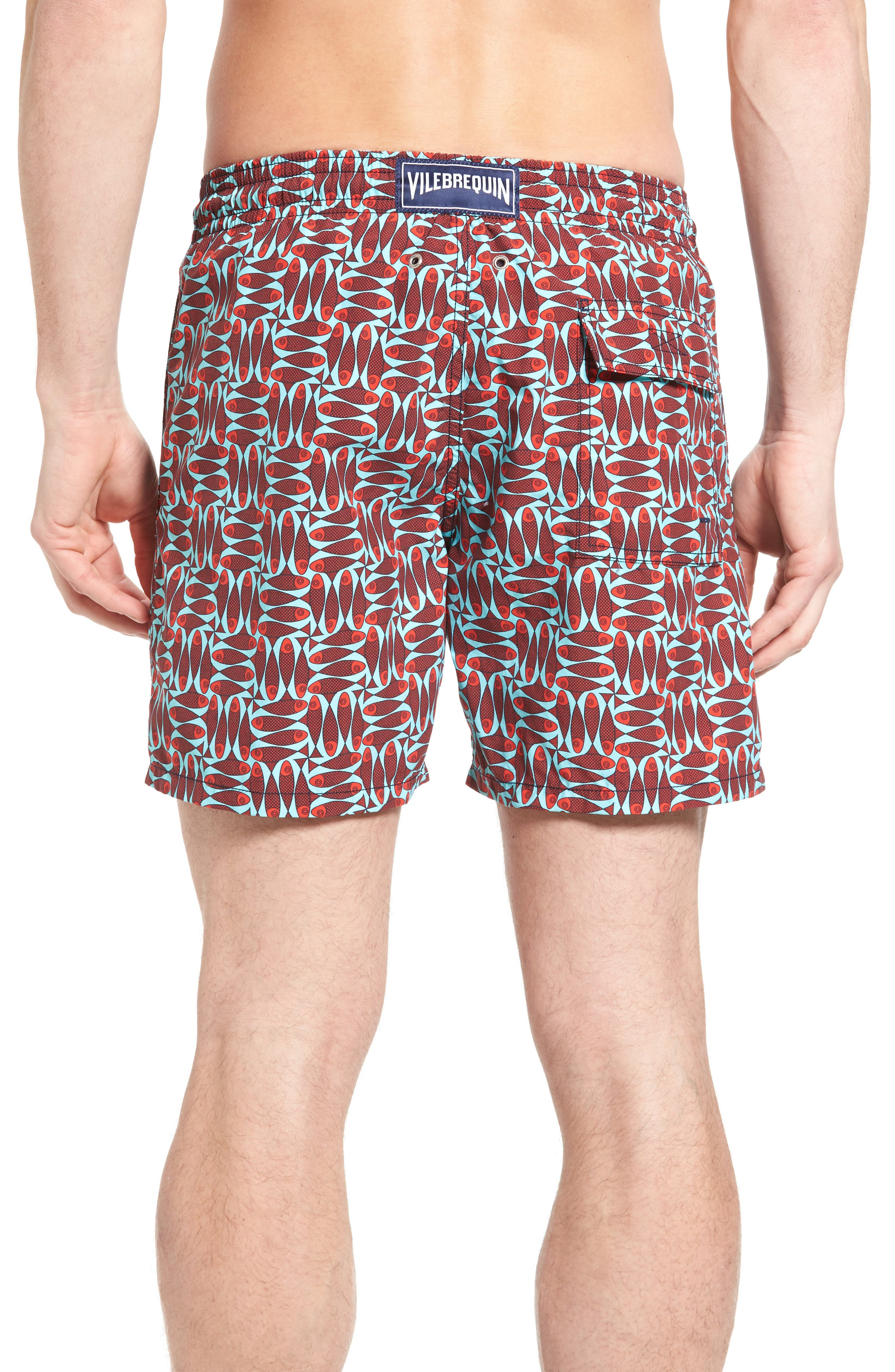 Check Fish Print Swim Trunks,                             Alternate thumbnail 2, color,                             POPPY RED