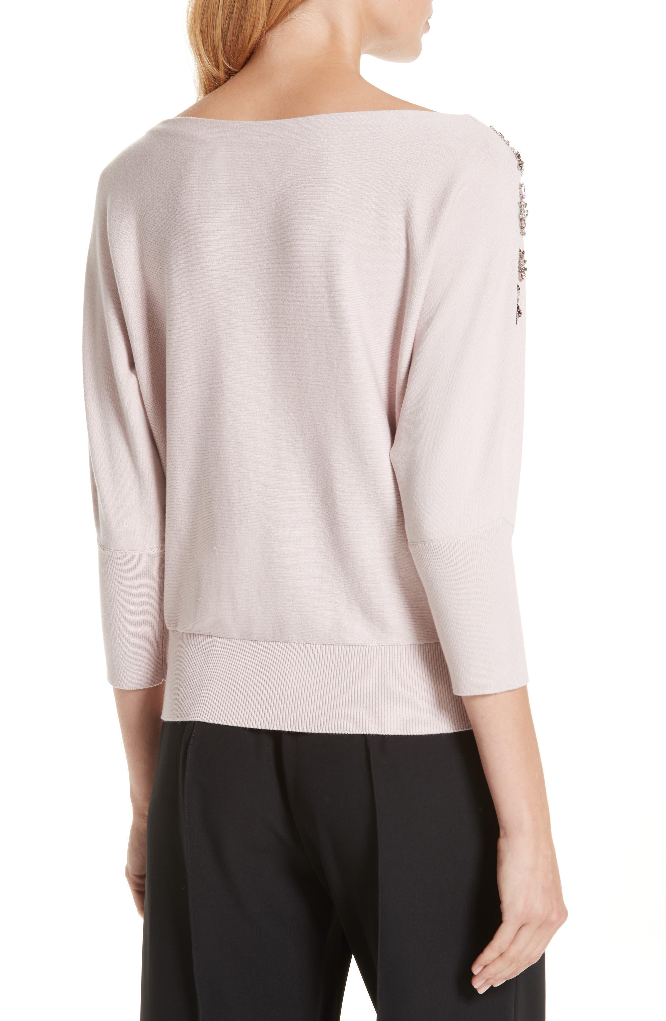 MILLY,                             Faux Gem Embellished Sweater,                             Alternate thumbnail 2, color,                             BALLET