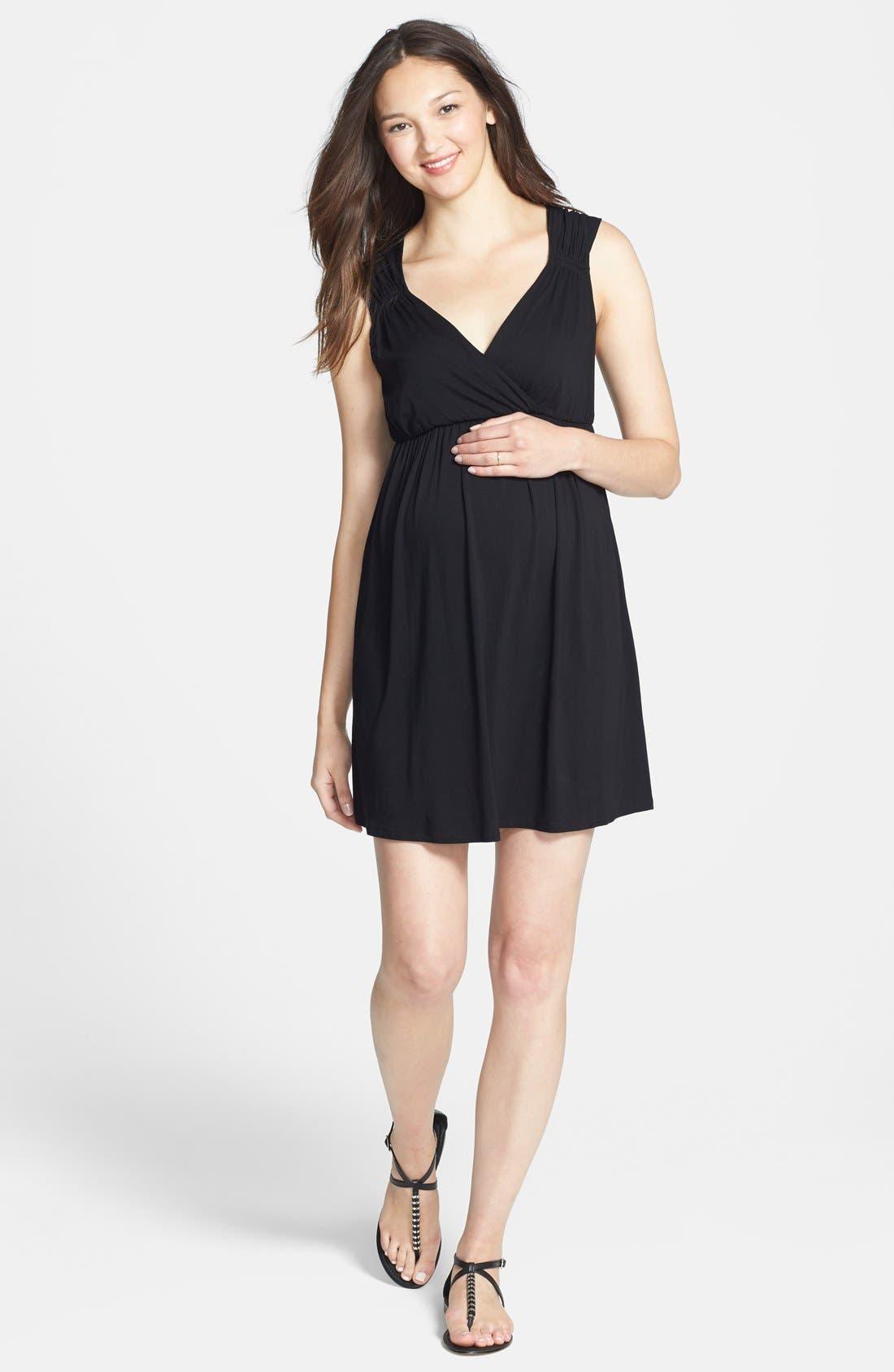 'Vanessa' Maternity Dress,                             Main thumbnail 1, color,                             BLACK
