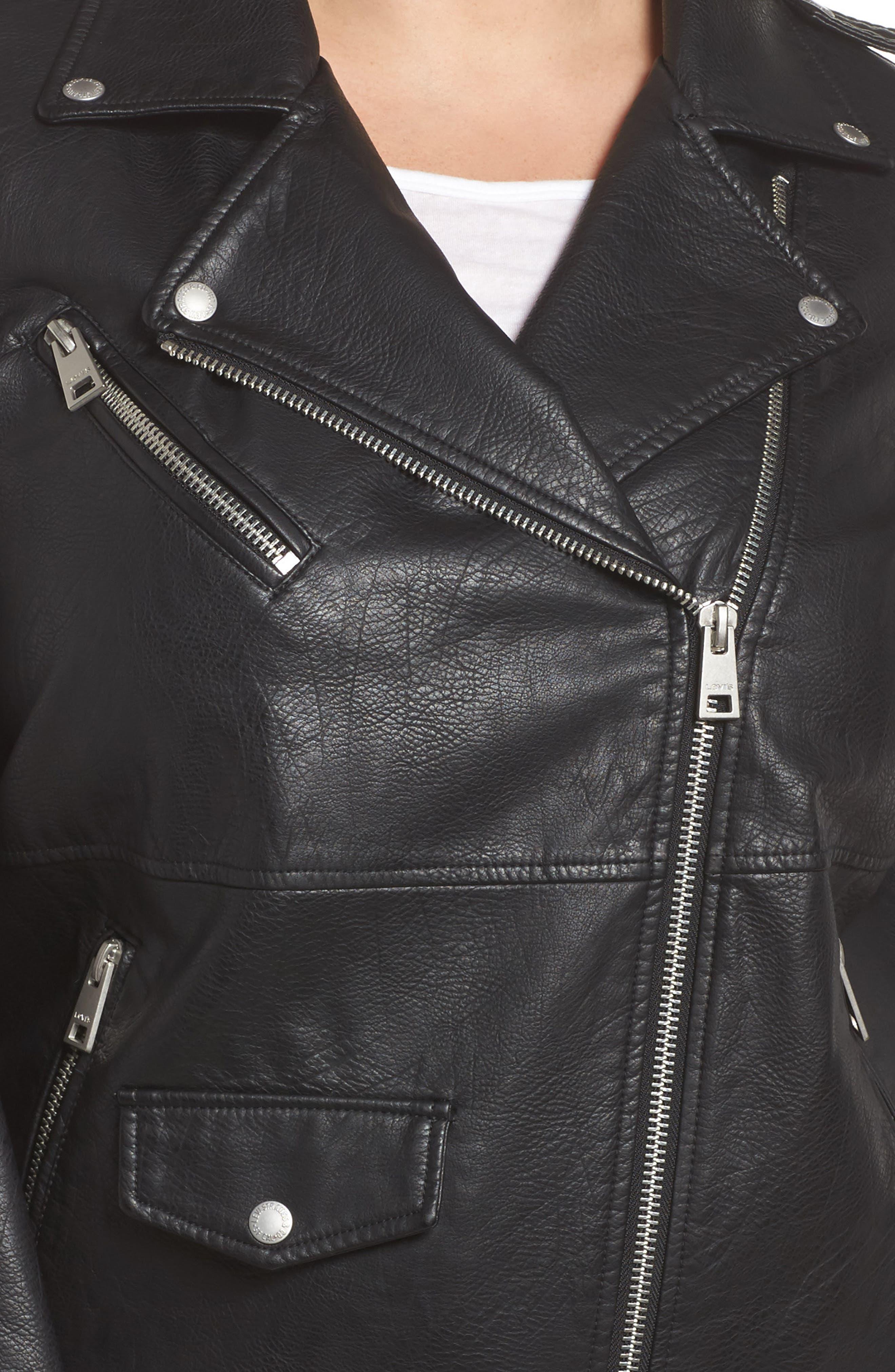 Oversize Faux Leather Moto Jacket,                             Alternate thumbnail 4, color,                             001