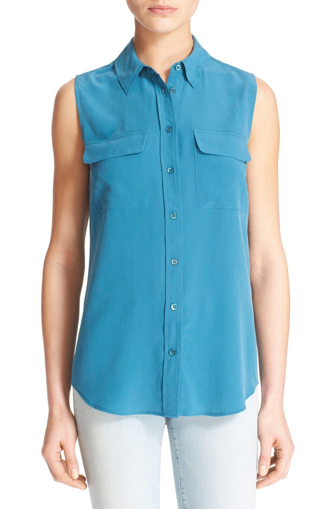 'Slim Signature' Sleeveless Silk Shirt,                             Main thumbnail 30, color,