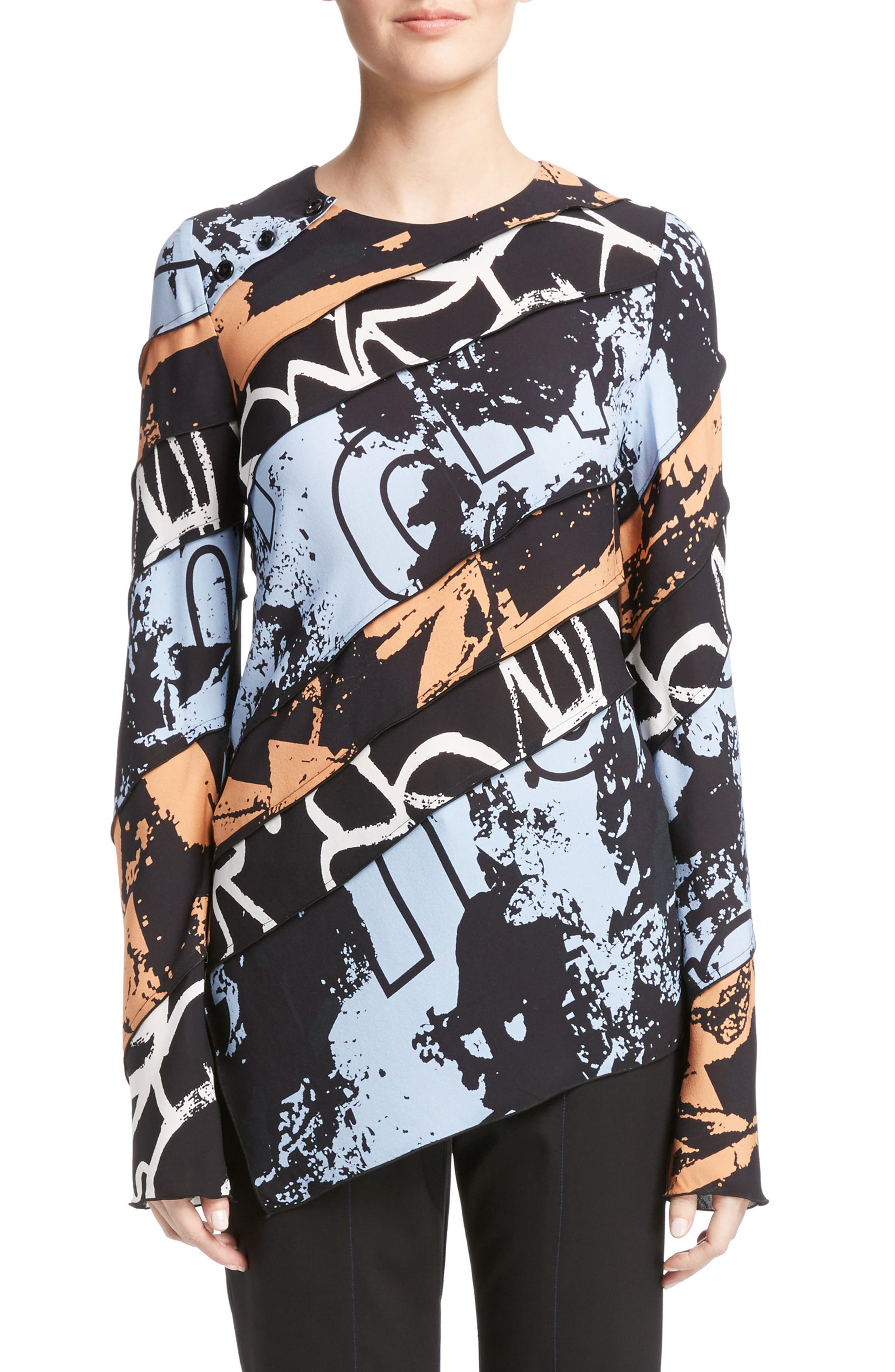 Print Silk Georgette Asymmetrical Top,                         Main,                         color, 400