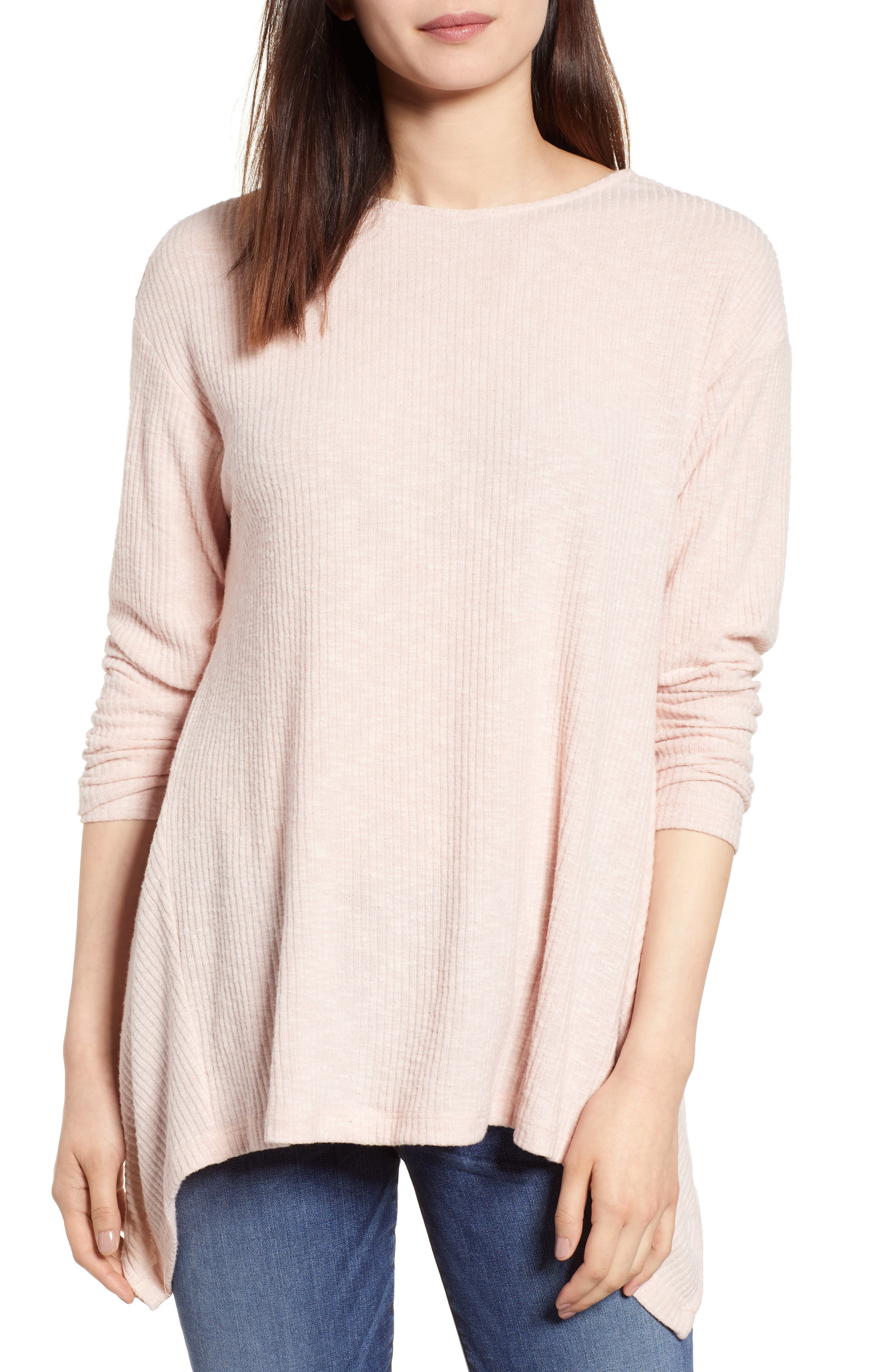 Ribbed Cozy Fleece Twist Back Top,                             Main thumbnail 3, color,