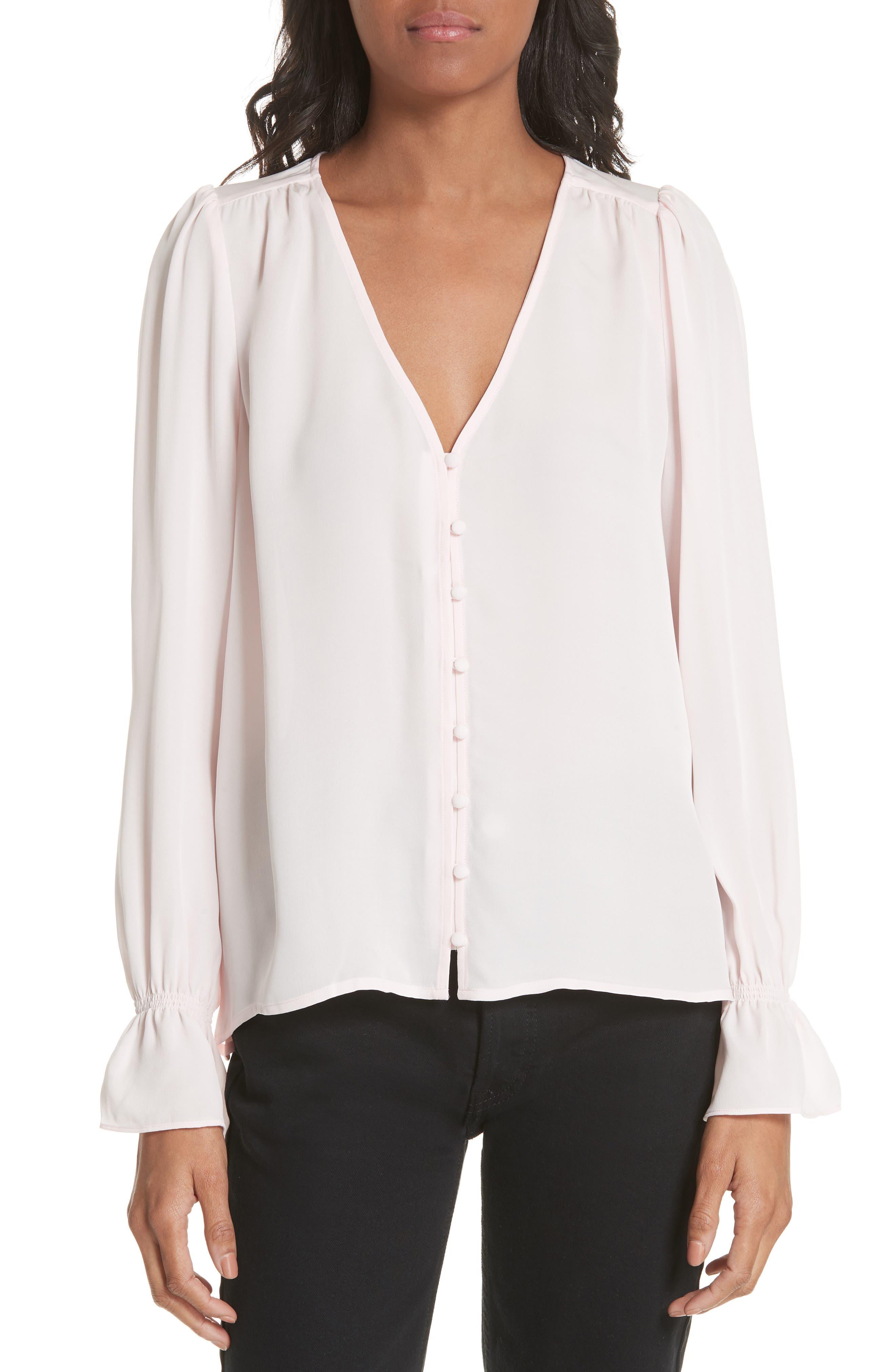 Bolona Silk Gathered Sleeve Top,                             Main thumbnail 1, color,                             ROSEWATER