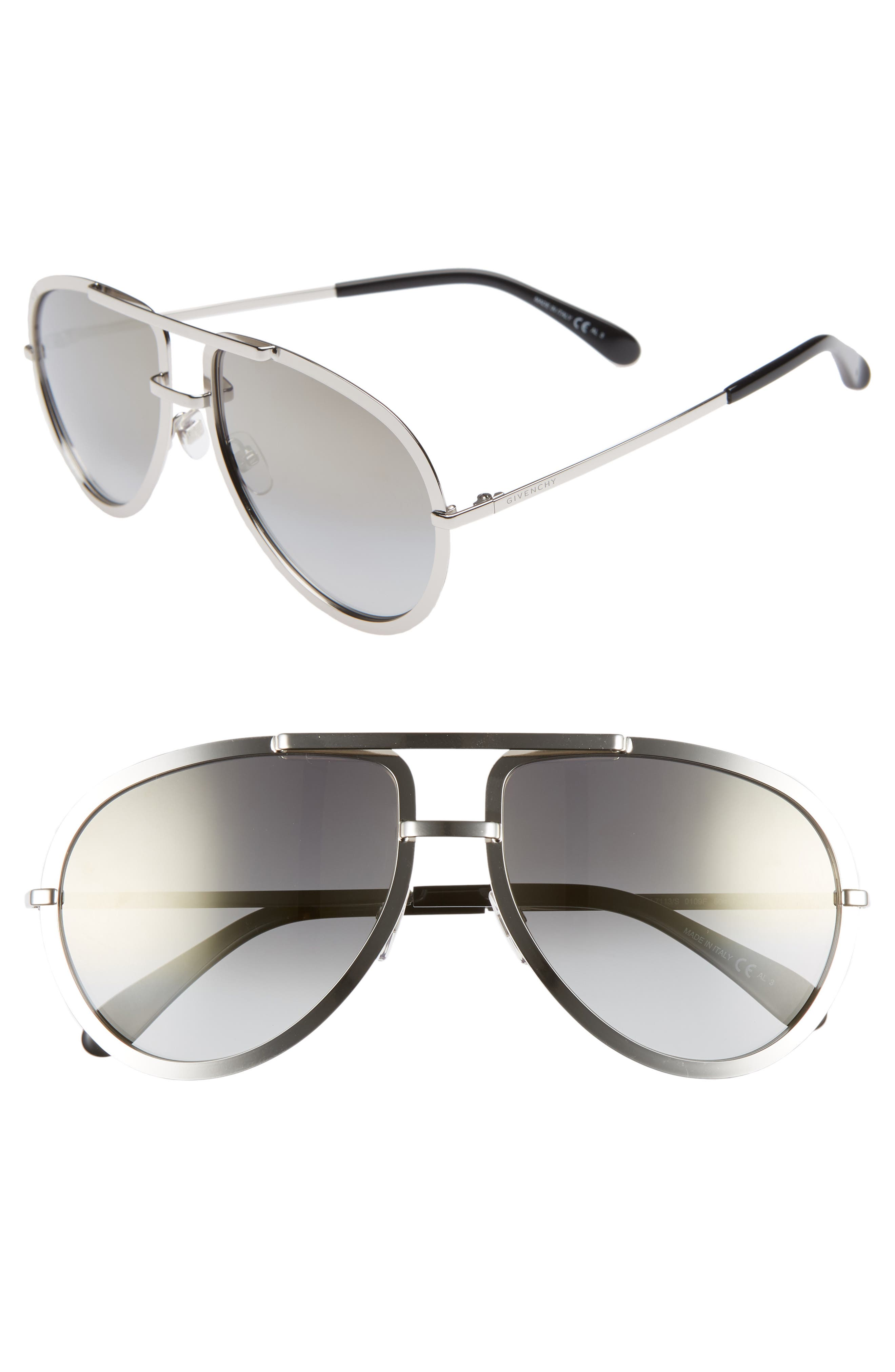 Givenchy 60Mm Aviator Sunglasses - Palladium
