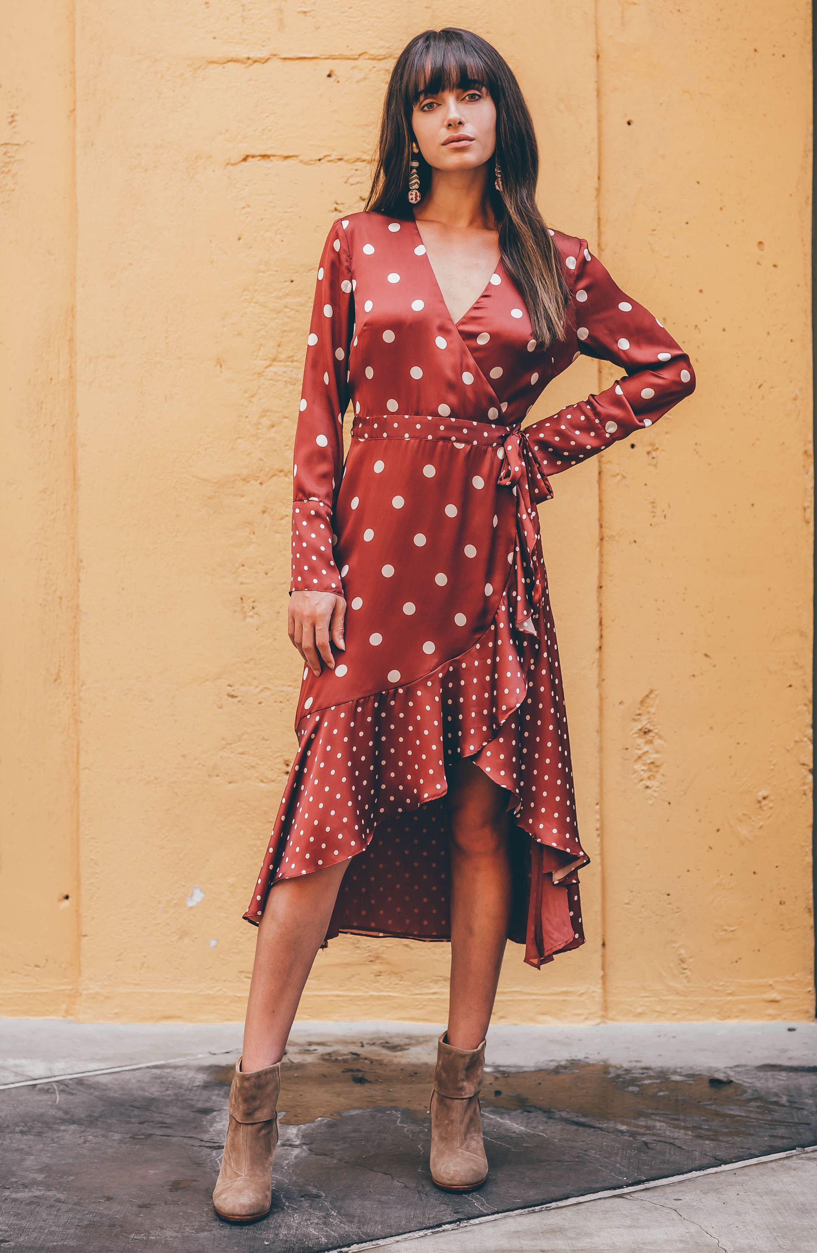 Mix Dot Satin Wrap Dress,                             Alternate thumbnail 2, color,                             RUST
