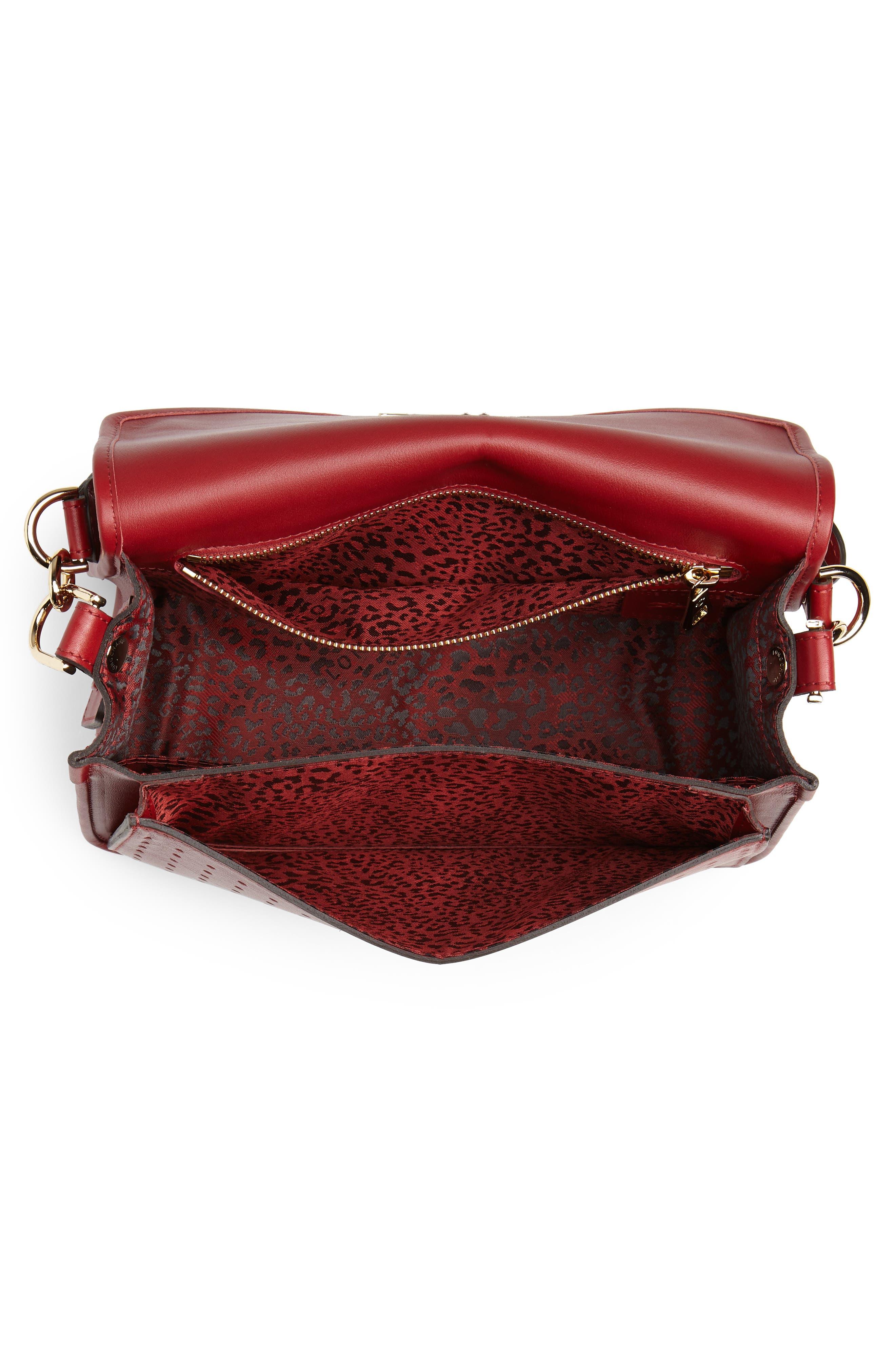 Mademoiselle Calfskin Leather Crossbody Bag,                             Alternate thumbnail 4, color,                             GARNET RED