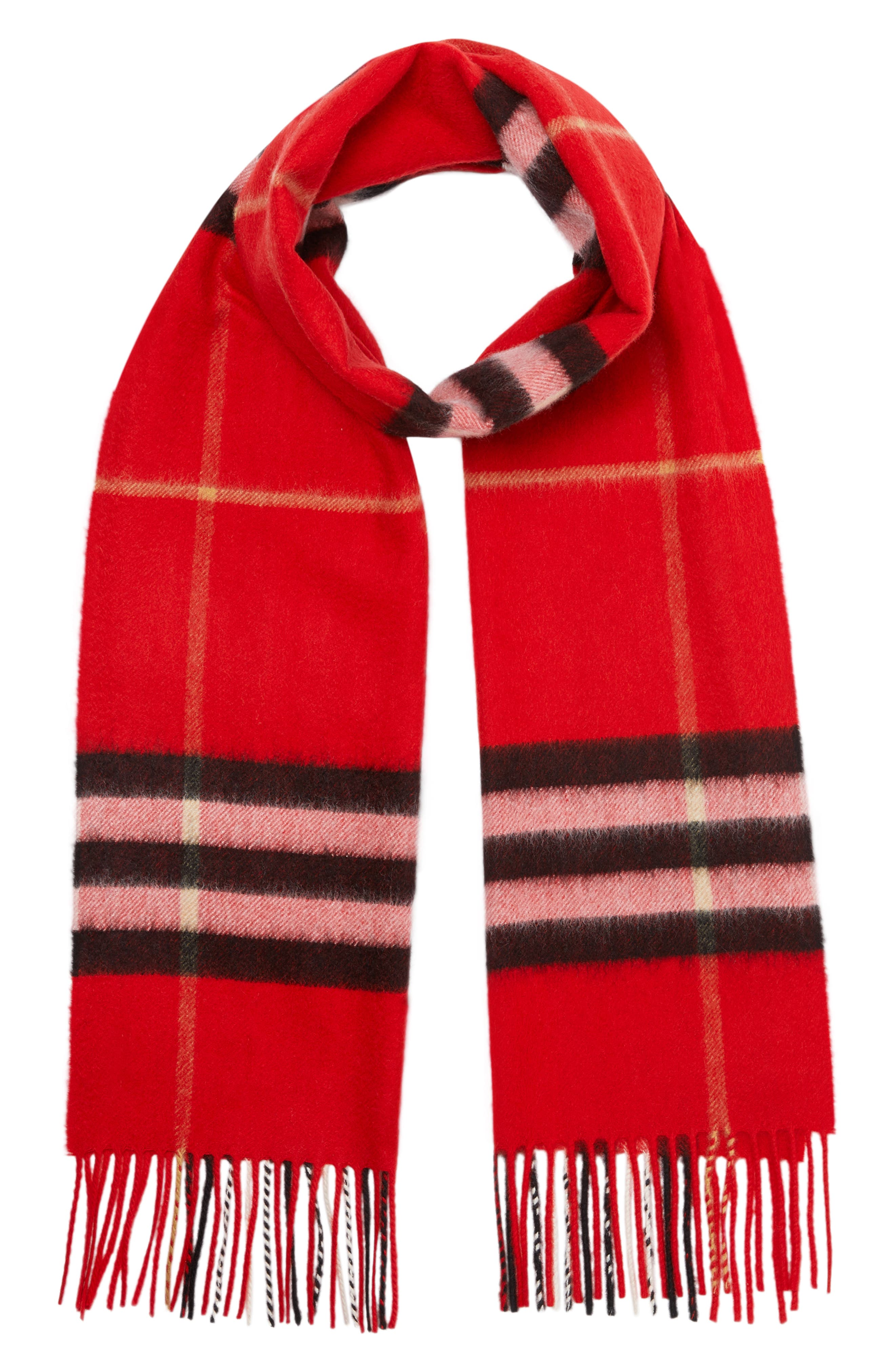 BURBERRY,                             Giant Check Cashmere Scarf,                             Alternate thumbnail 4, color,                             BRIGHT MILITARY RED