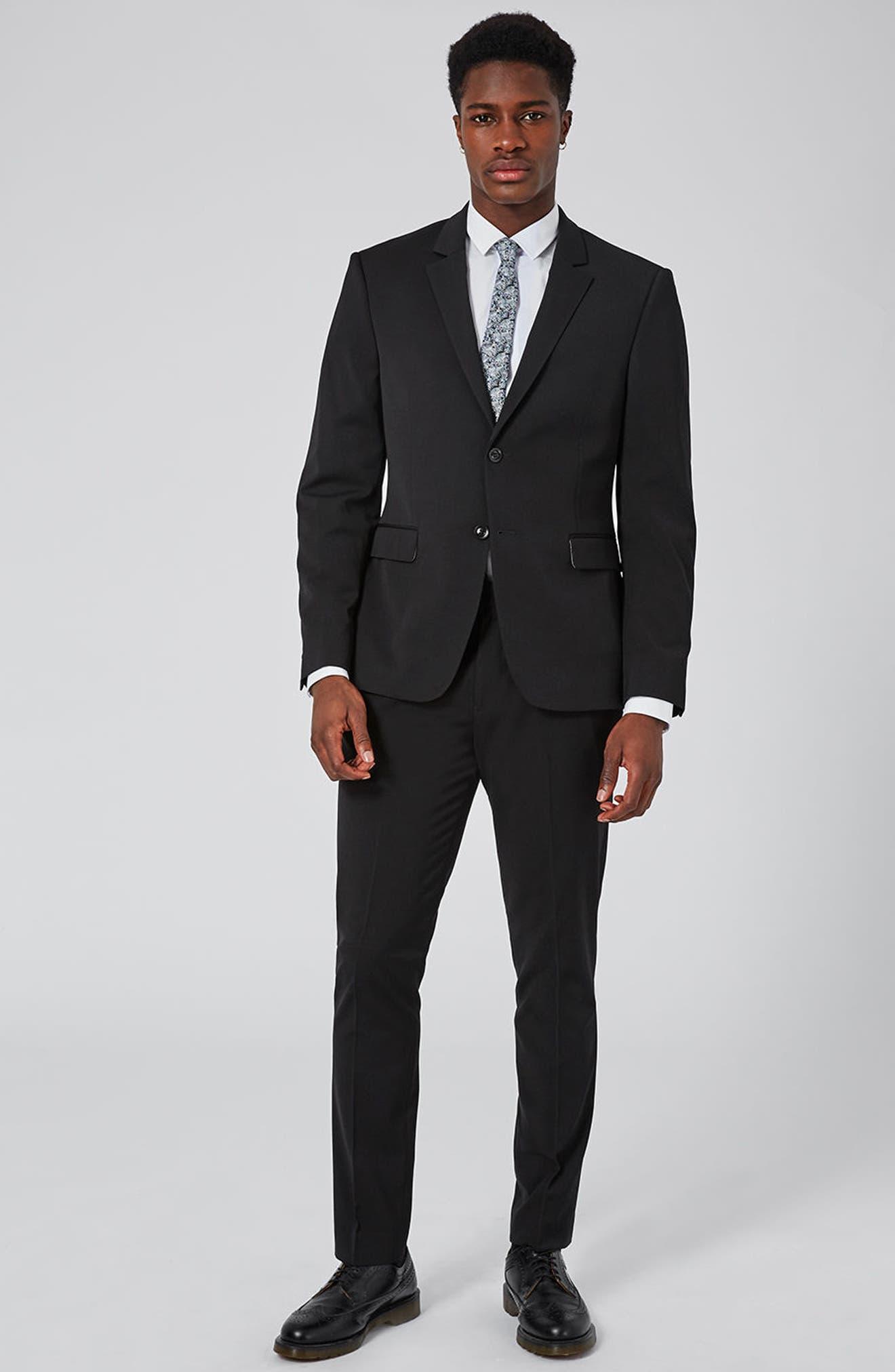 Muscle Fit Suit Trousers,                             Alternate thumbnail 5, color,                             BLACK