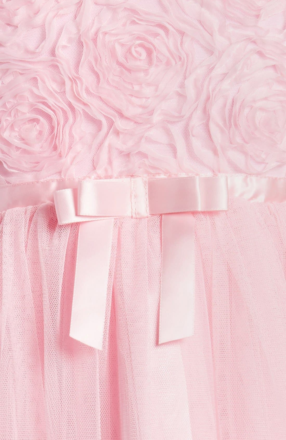 Ribbon Rosette Tulle Dress,                             Alternate thumbnail 3, color,                             PINK