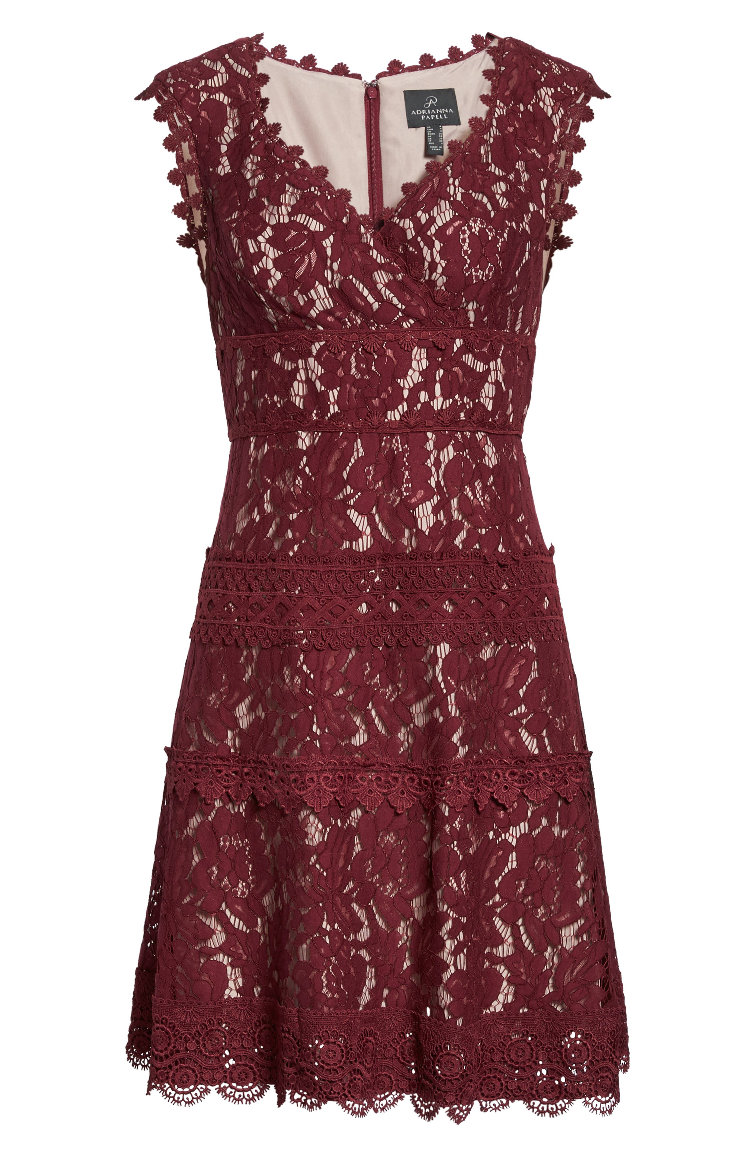 Cynthia Lace Fit & Flare Dress,                             Alternate thumbnail 6, color,                             605