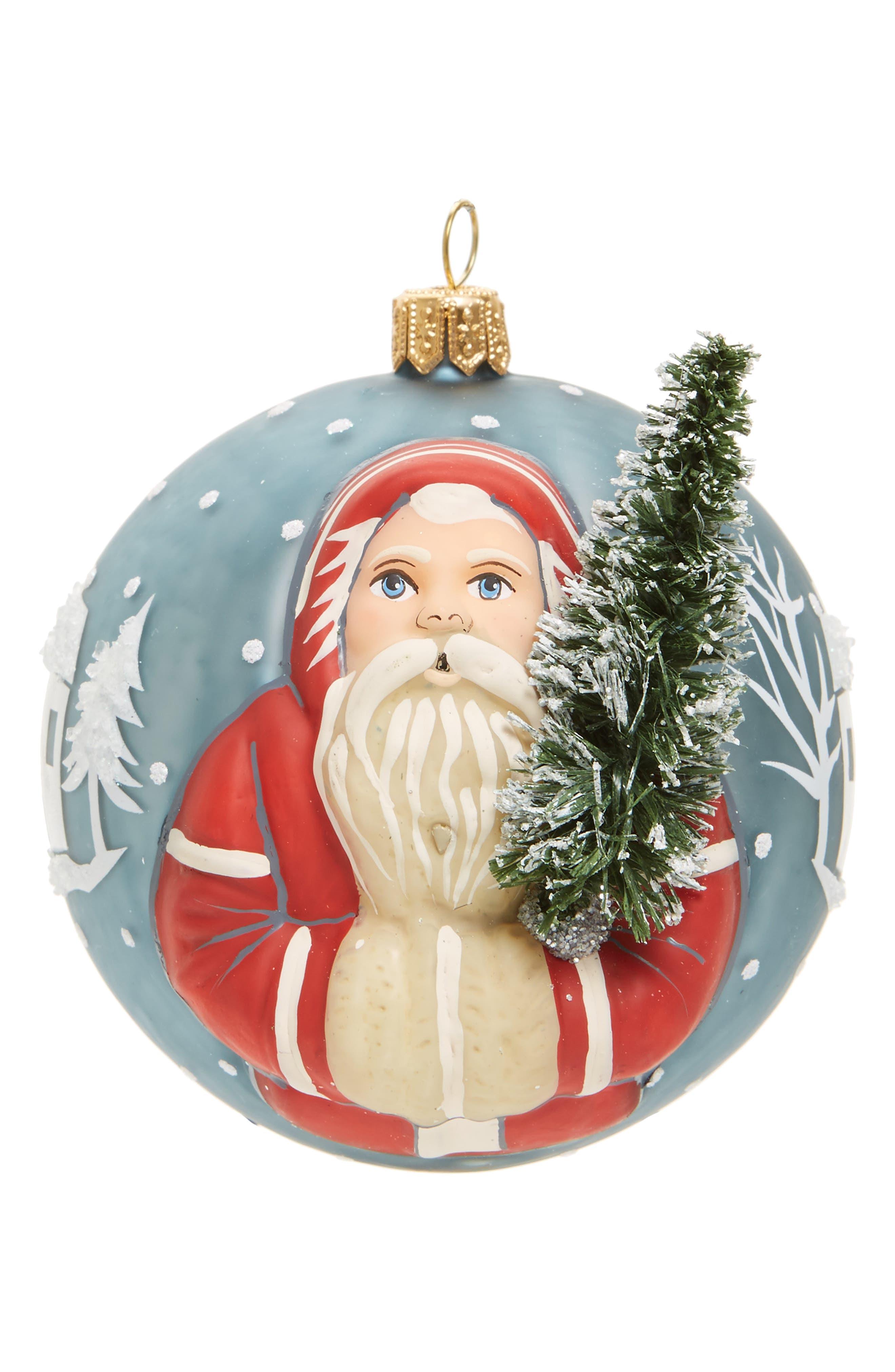 Jingle Ball Village Father Christmas Glass Ornament,                             Main thumbnail 1, color,                             600