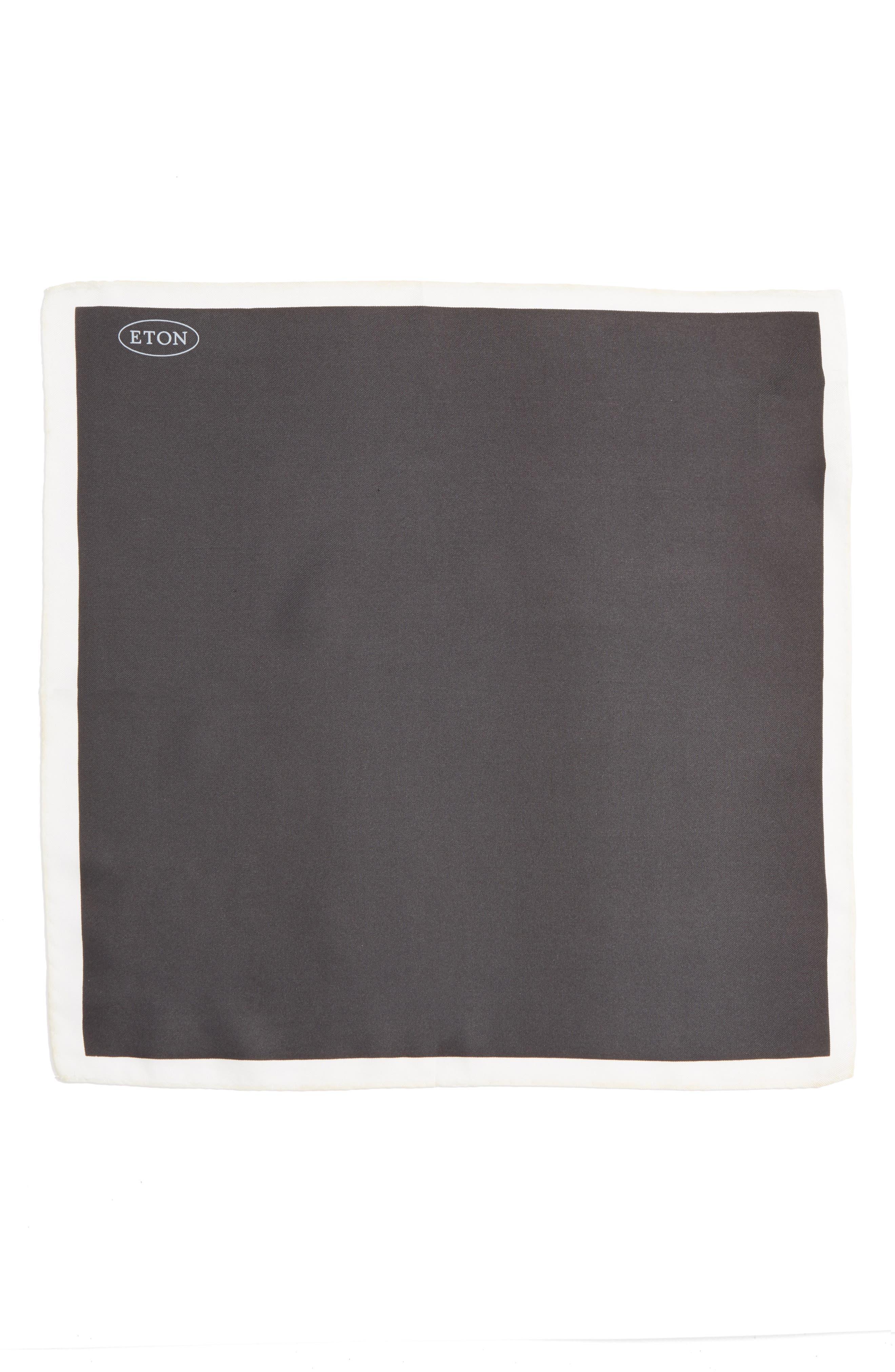 Silk Pocket Square,                             Alternate thumbnail 2, color,                             BLACK