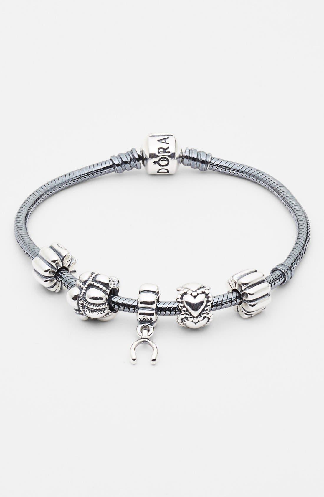 Oxidized Sterling Silver Charm Bracelet,                             Alternate thumbnail 5, color,