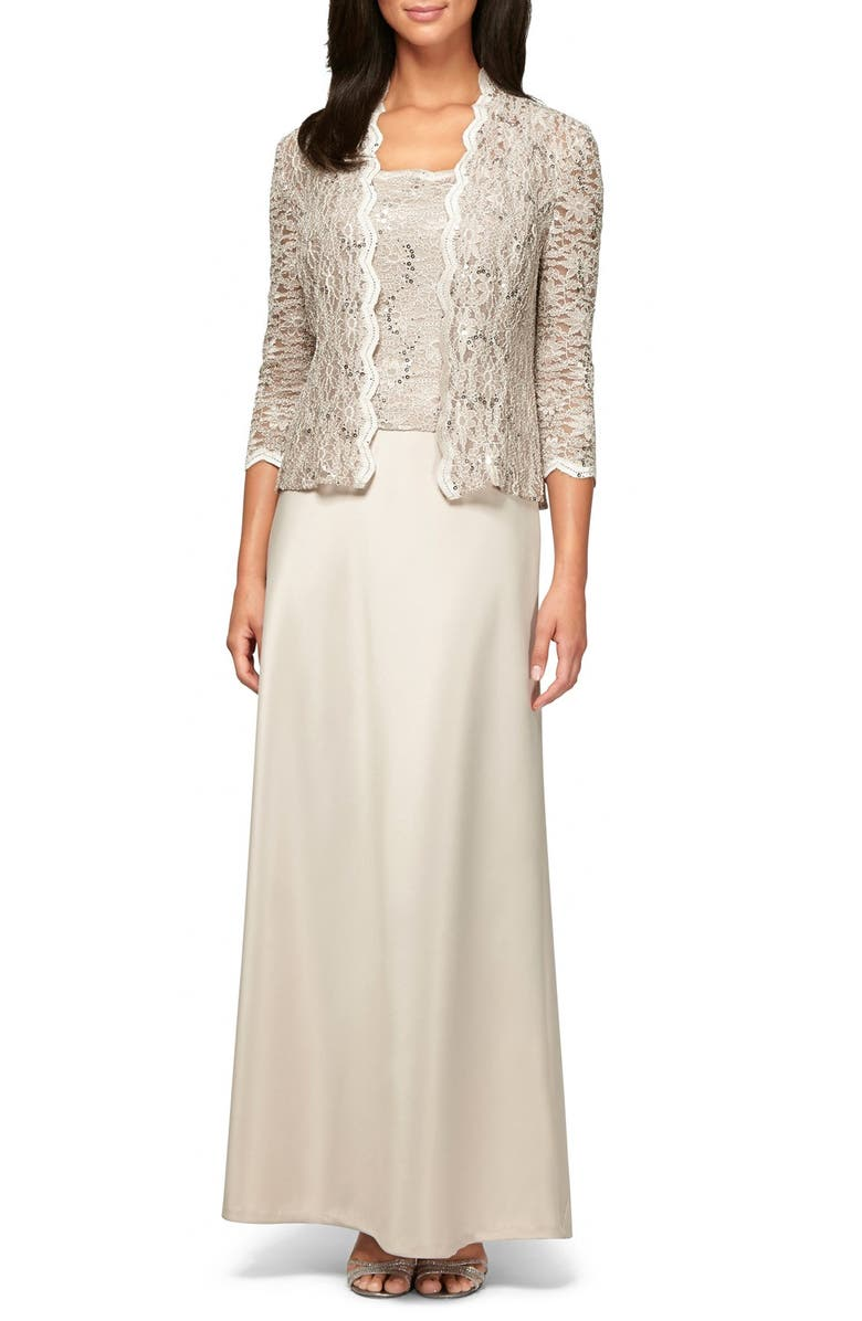 Alex Evenings Sequin Lace & Satin Gown with Jacket (Regular & Petite ...