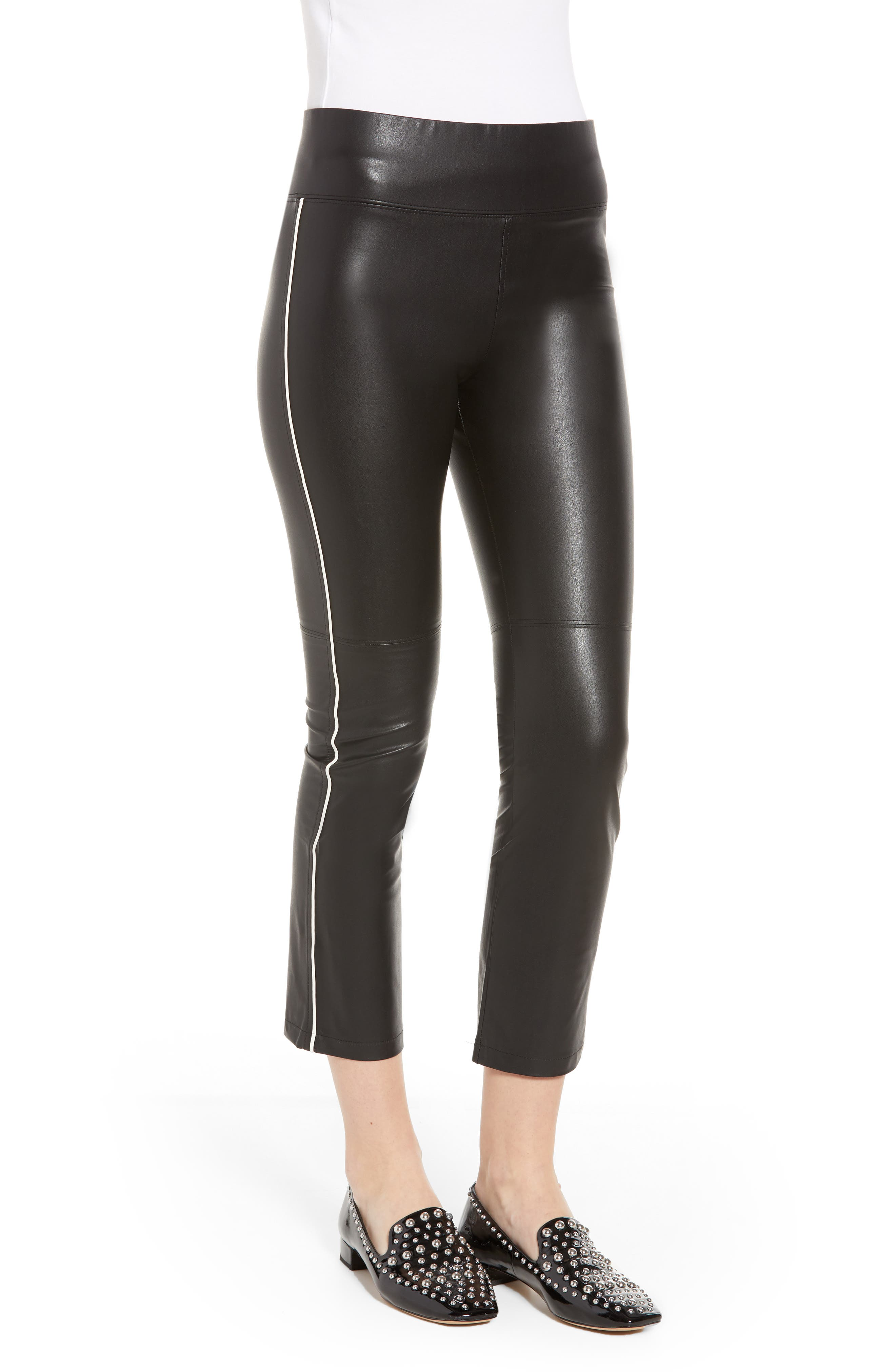 Gemma Faux Leather Skimmer Pants,                             Alternate thumbnail 3, color,                             BLACK