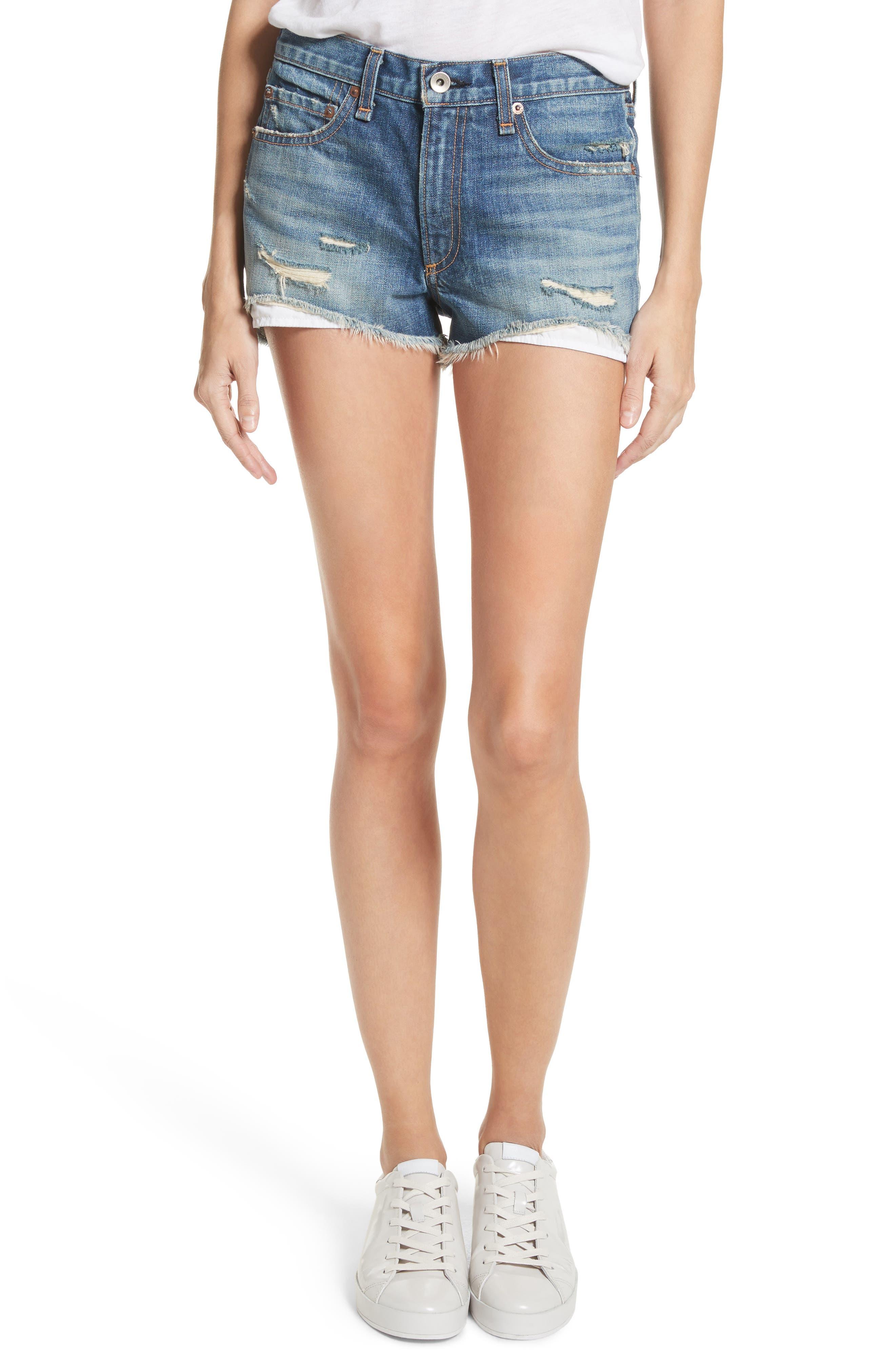 Margaux High Waist Denim Shorts,                         Main,                         color, 420