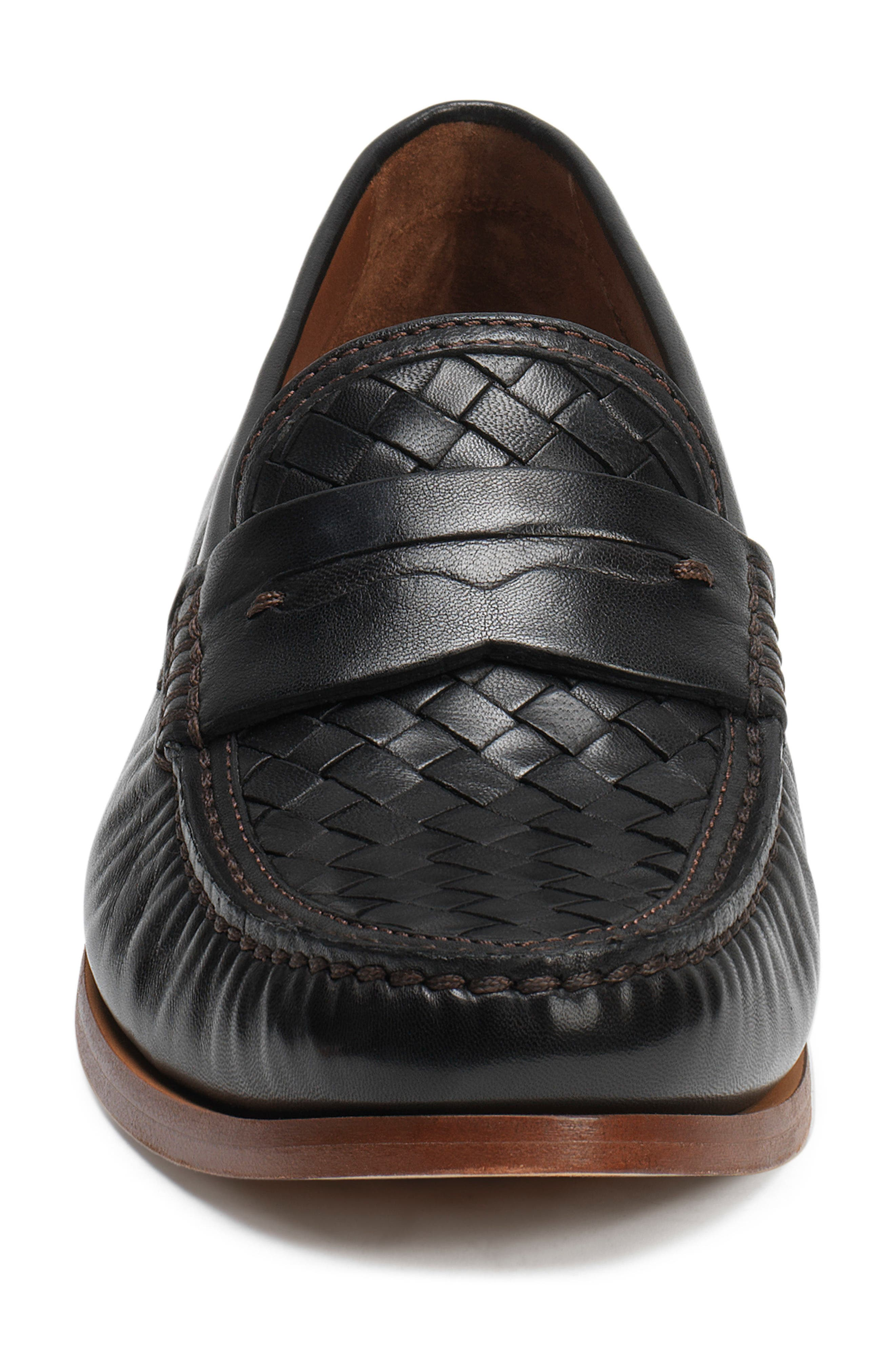 Slade Water Resistant Woven Penny Loafer,                             Alternate thumbnail 4, color,                             BLACK LEATHER