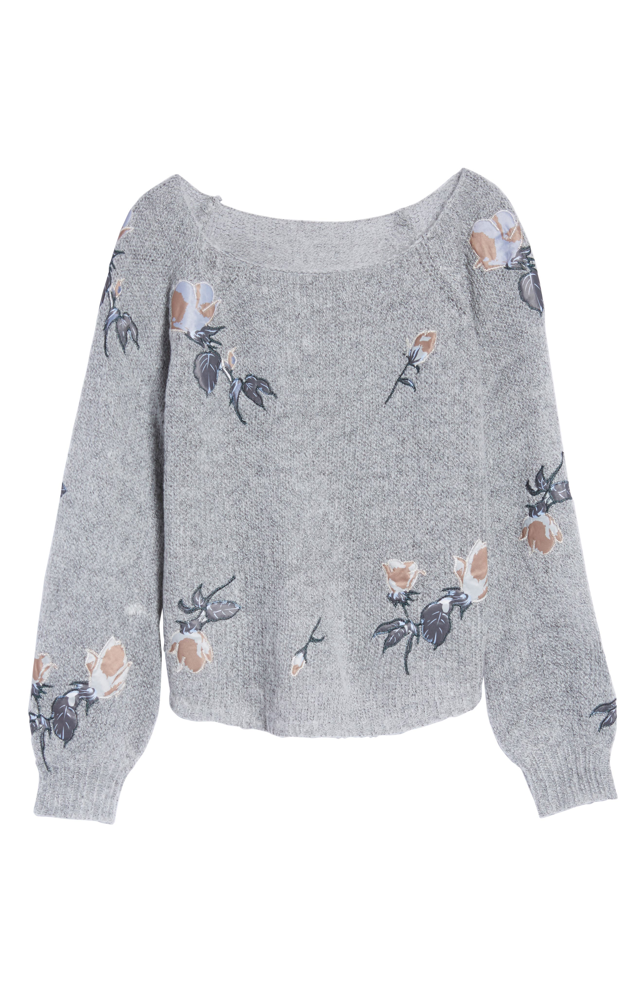 Embroidered Crop Sweater,                             Alternate thumbnail 6, color,                             020