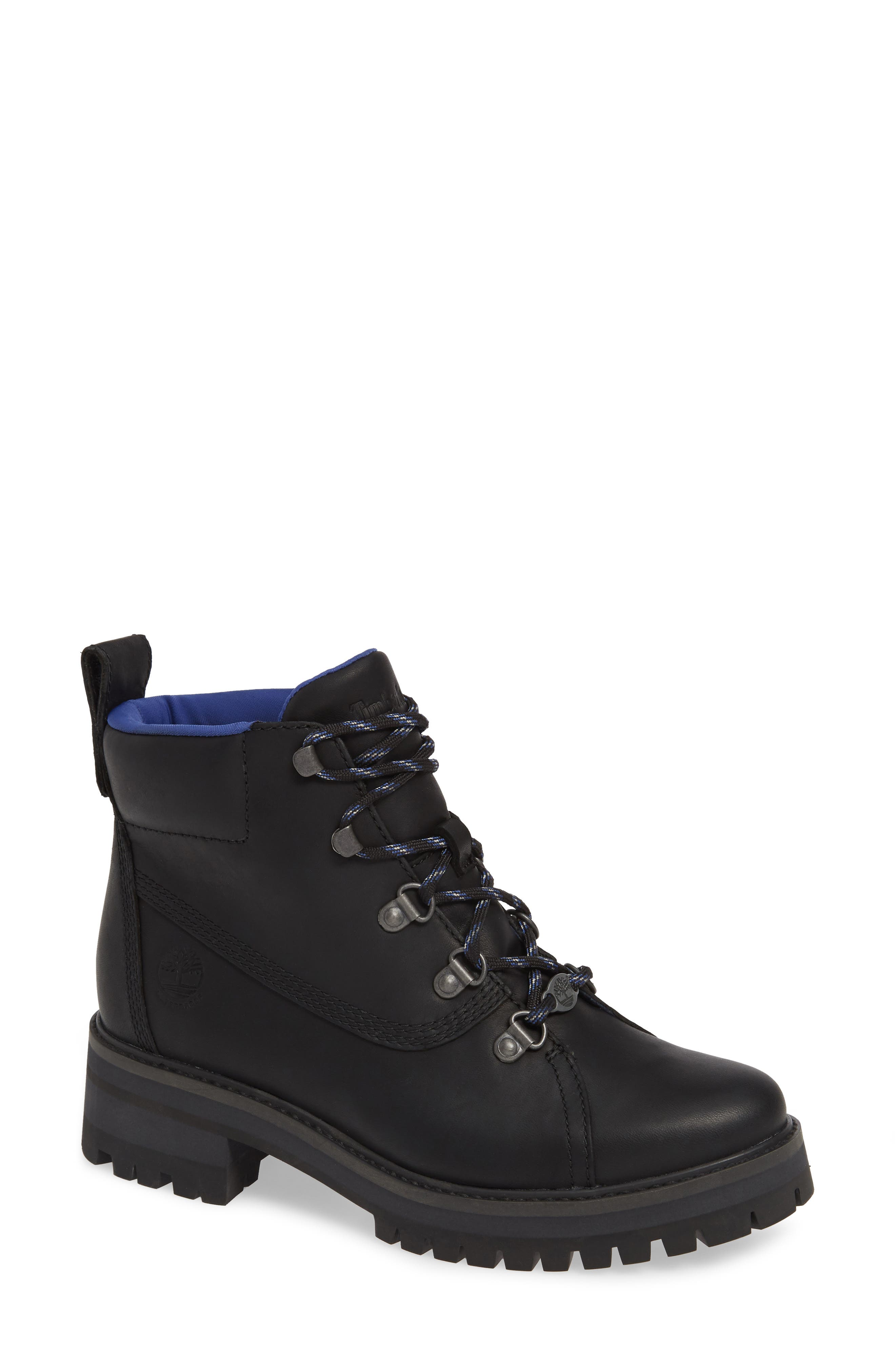 TIMBERLAND,                             Courmayeur Valley Waterproof Hiking Boot,                             Main thumbnail 1, color,                             BLACK NUBUCK BLACK OUT LEATHER