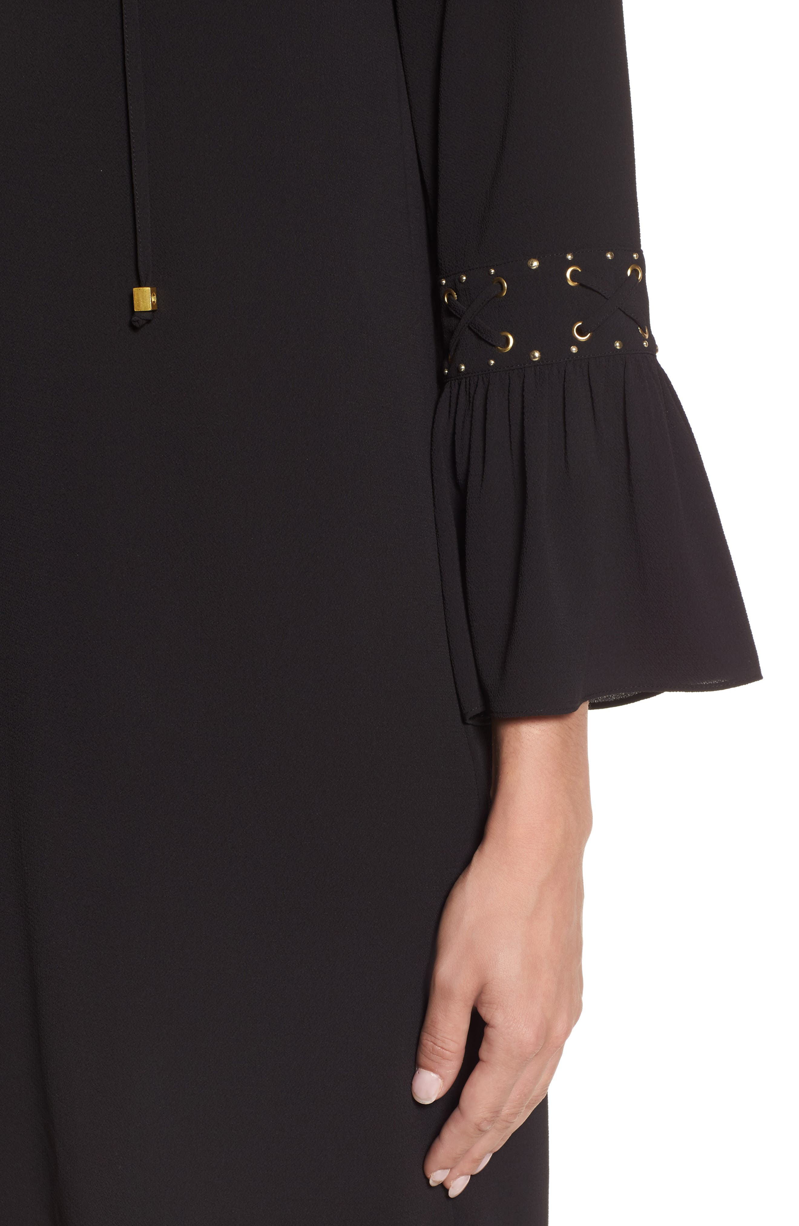 Lace-Up Sleeve Dress,                             Alternate thumbnail 4, color,                             001