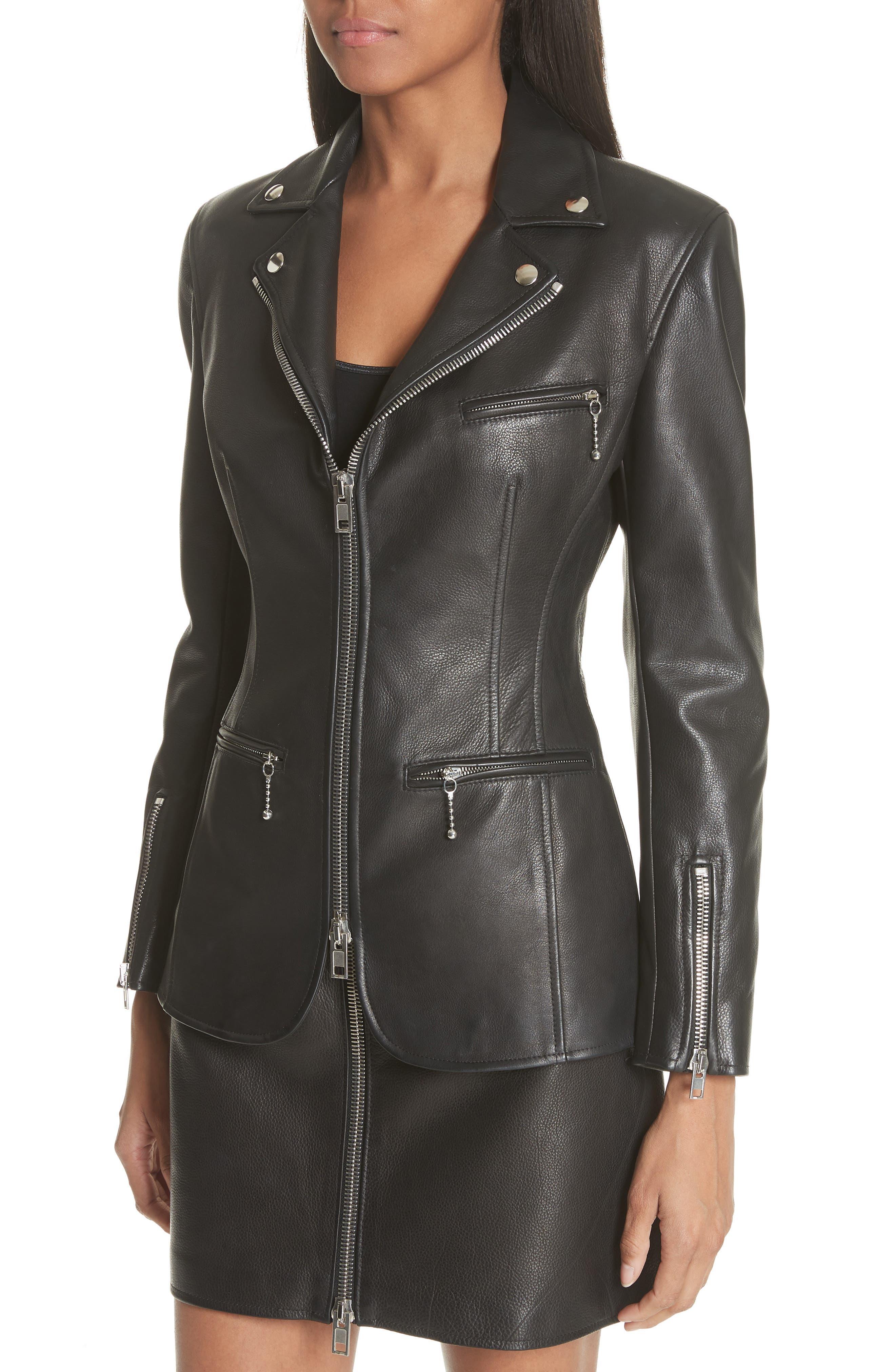 Zip Front Leather Blazer,                             Alternate thumbnail 4, color,                             BLACK