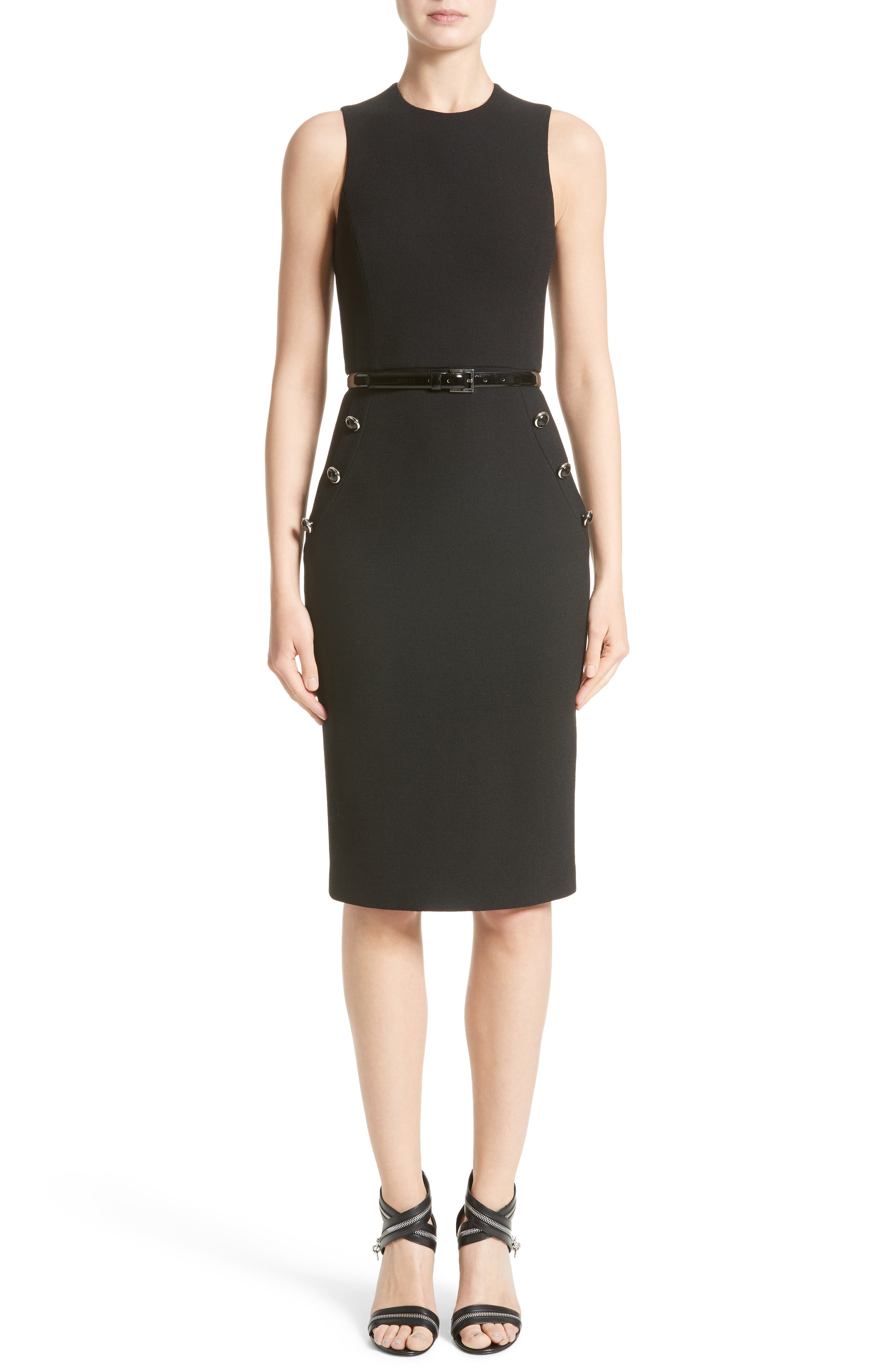 Belted Stretch Bouclé Crepe Sheath Dress,                         Main,                         color, 001