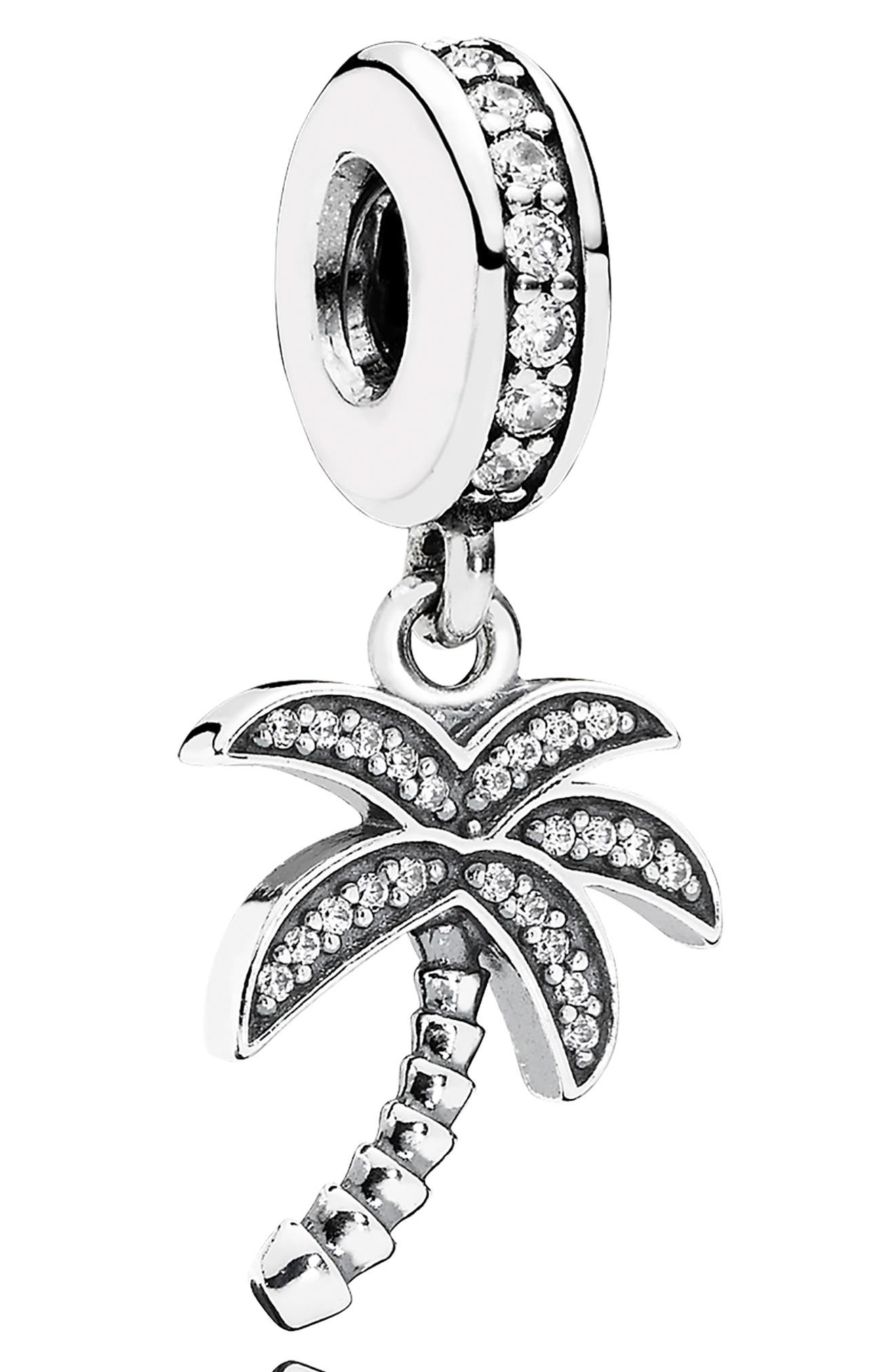 Sparkling Palm Tree Dangle Charm, Main, color, SILVER