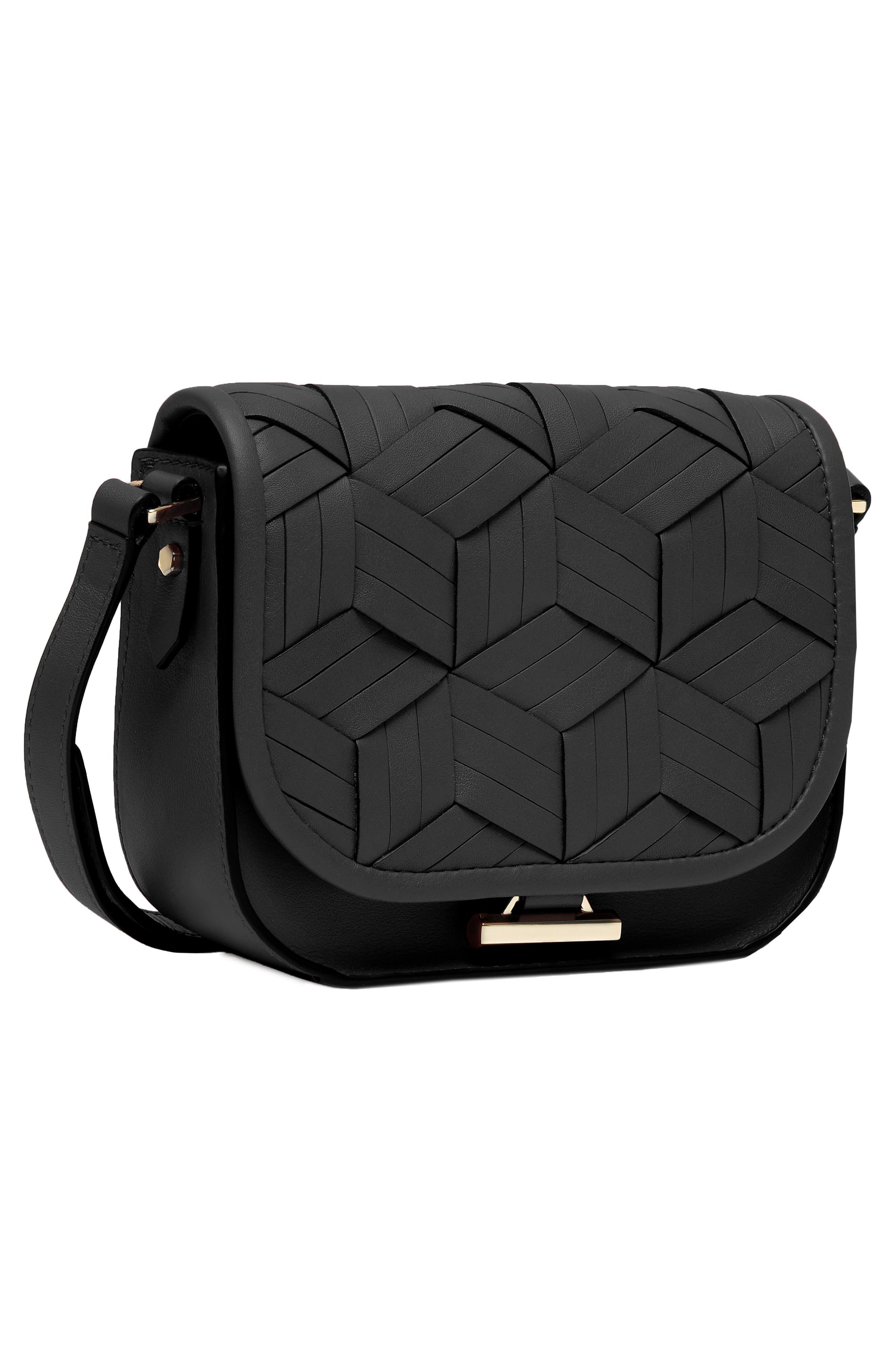 Mini Summit Leather Crossbody Bag,                             Alternate thumbnail 4, color,                             BLACK