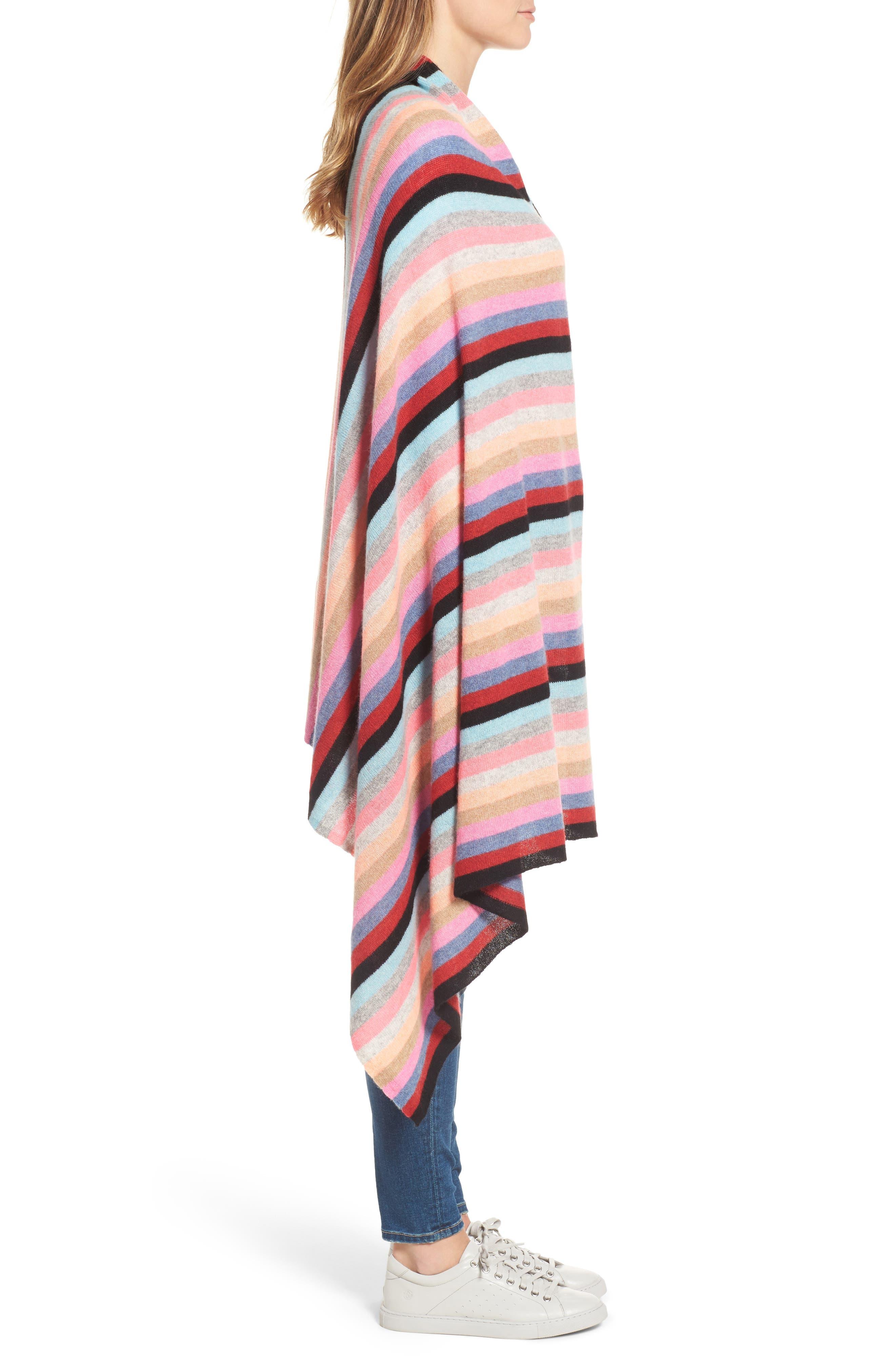 Travel Stripe Cashmere Wrap,                             Alternate thumbnail 4, color,