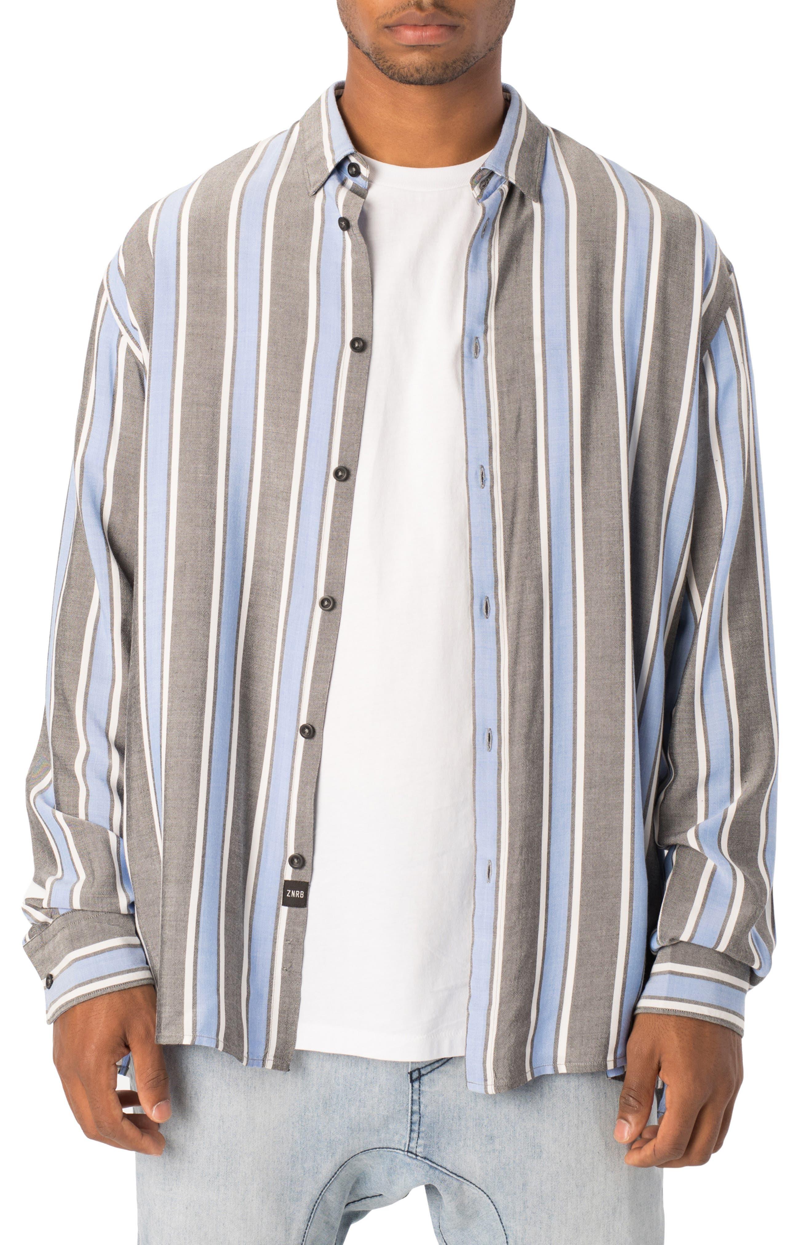 Oversize Stripe Sport Shirt,                         Main,                         color, BLACK/ COBALT