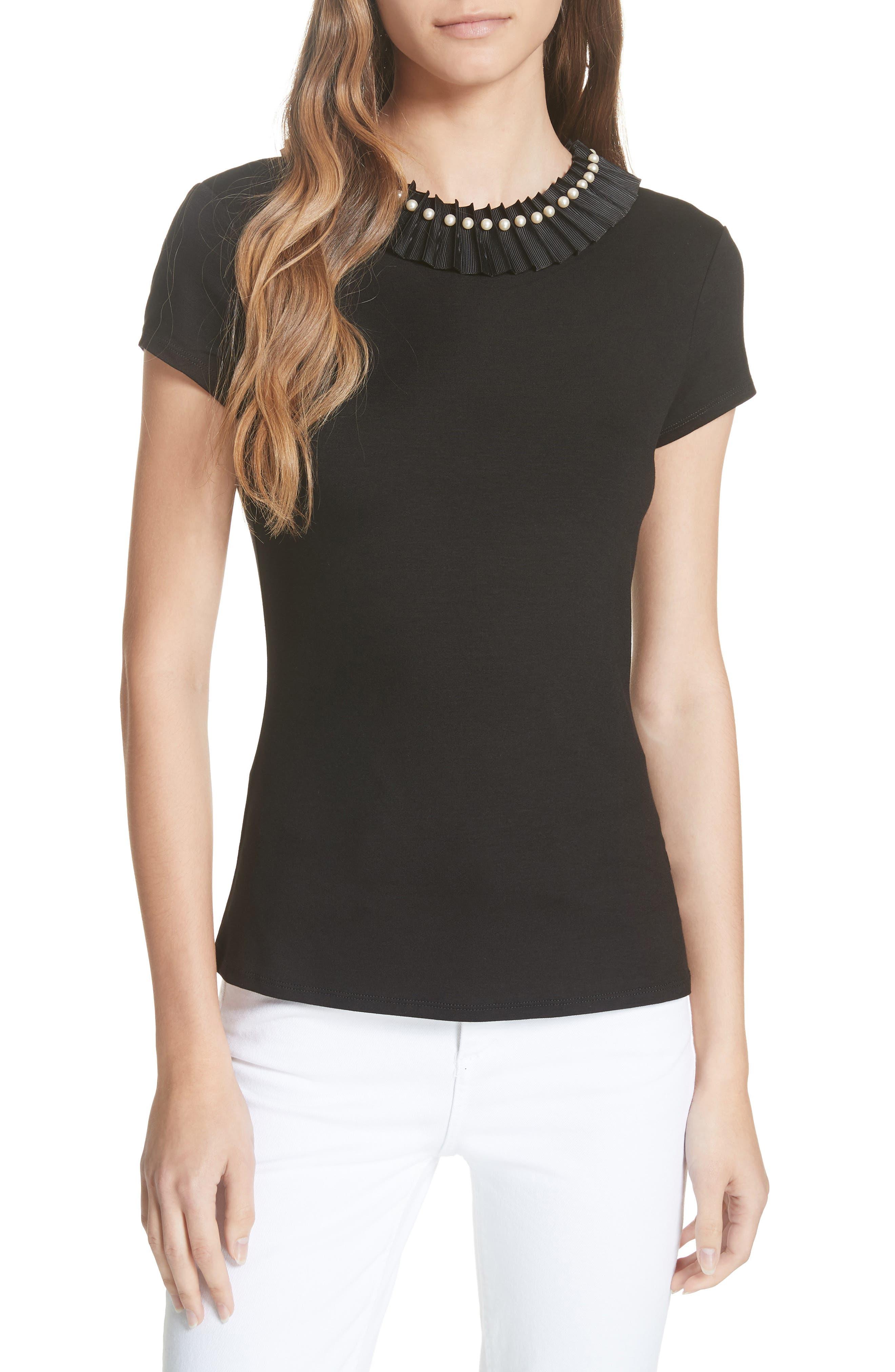 Nickita Imitation Pearl Neck Top,                         Main,                         color, BLACK