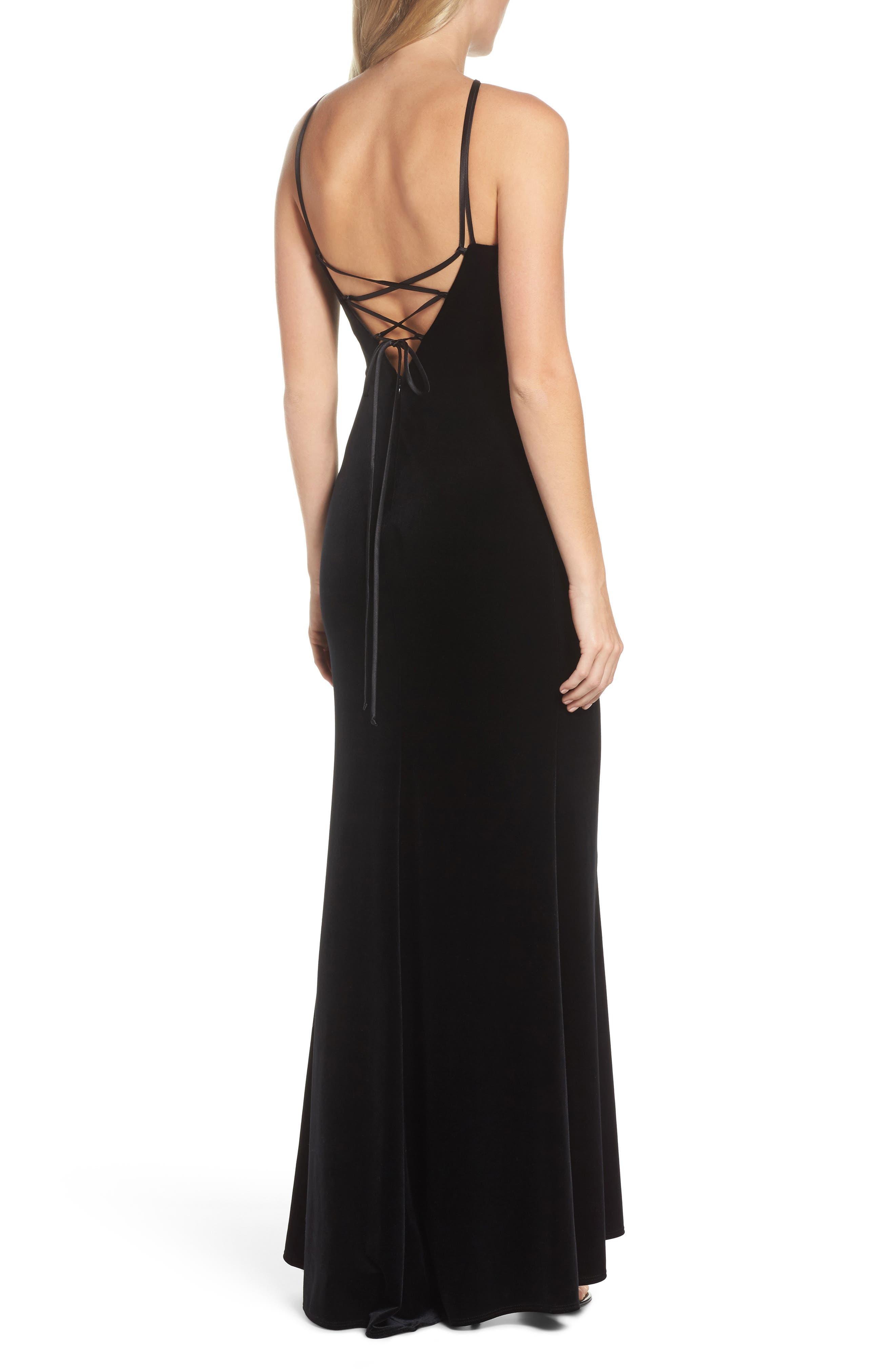 Halter Velvet Mermaid Gown,                             Alternate thumbnail 2, color,