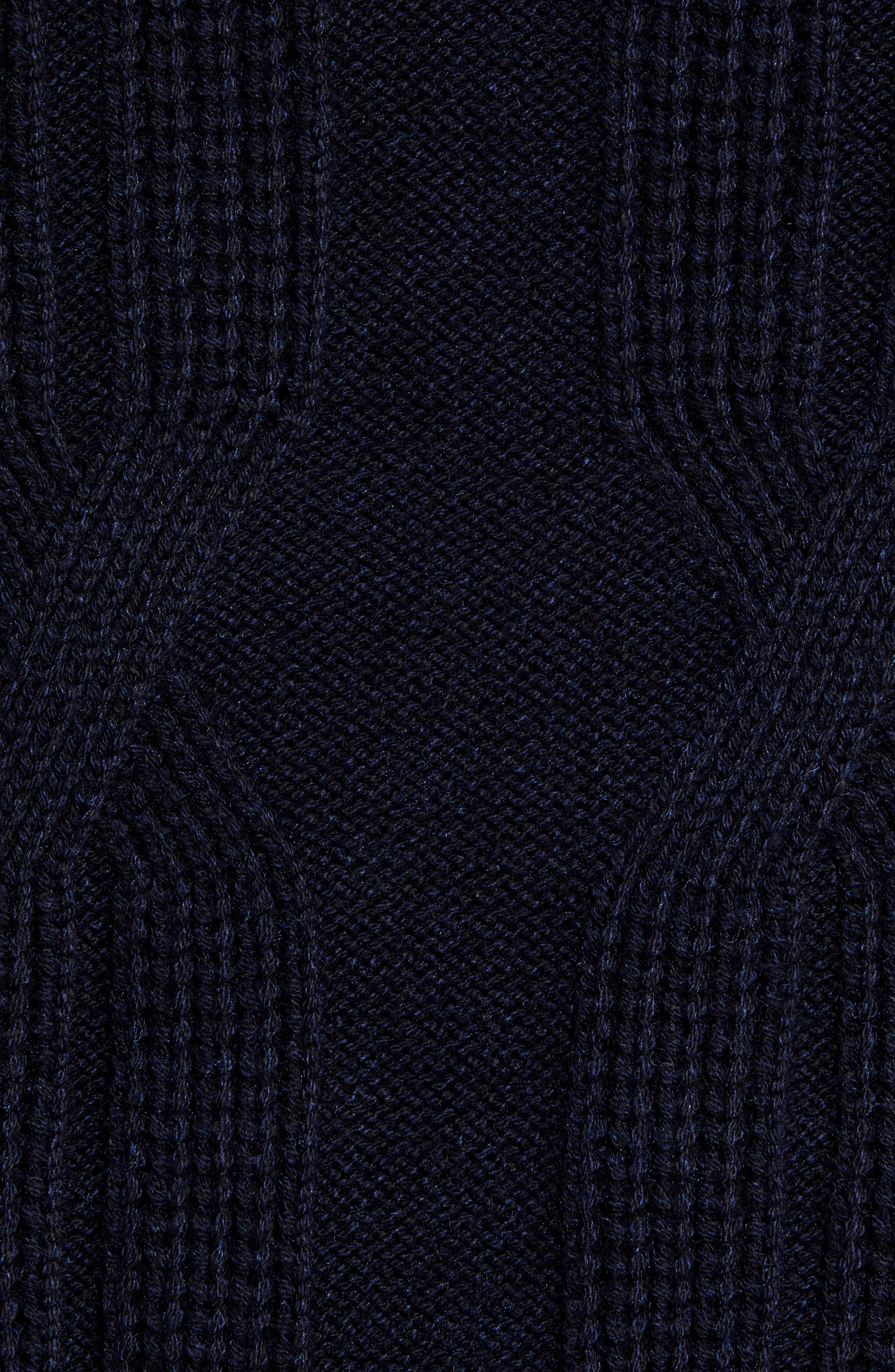Laichi Trim Fit Cable Crewneck Sweater,                             Alternate thumbnail 5, color,                             NAVY